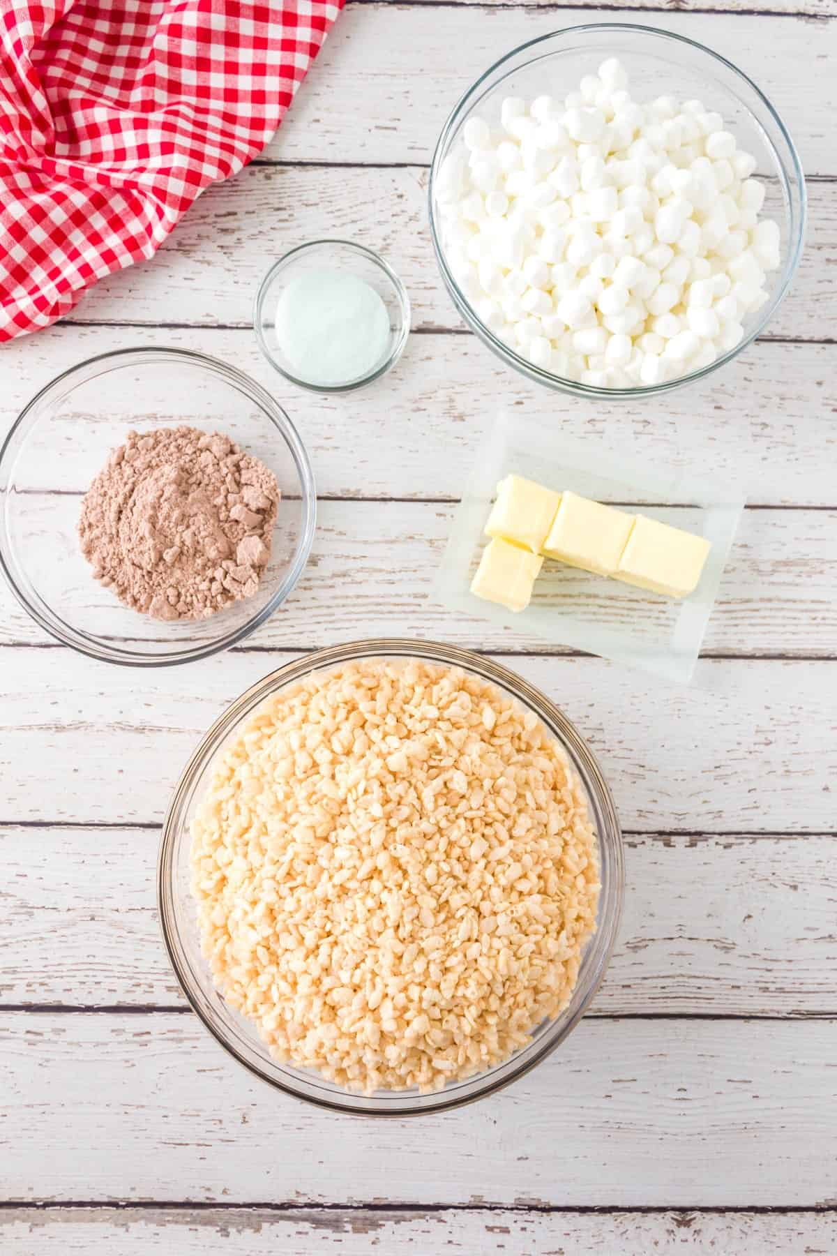 Ingredients for Layered Rice Krispies Squares