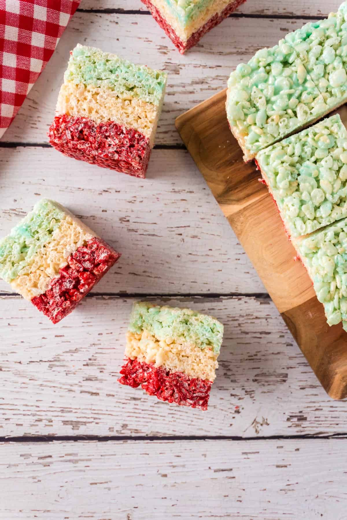 Overhead shot of cut up Rice Krispies squares