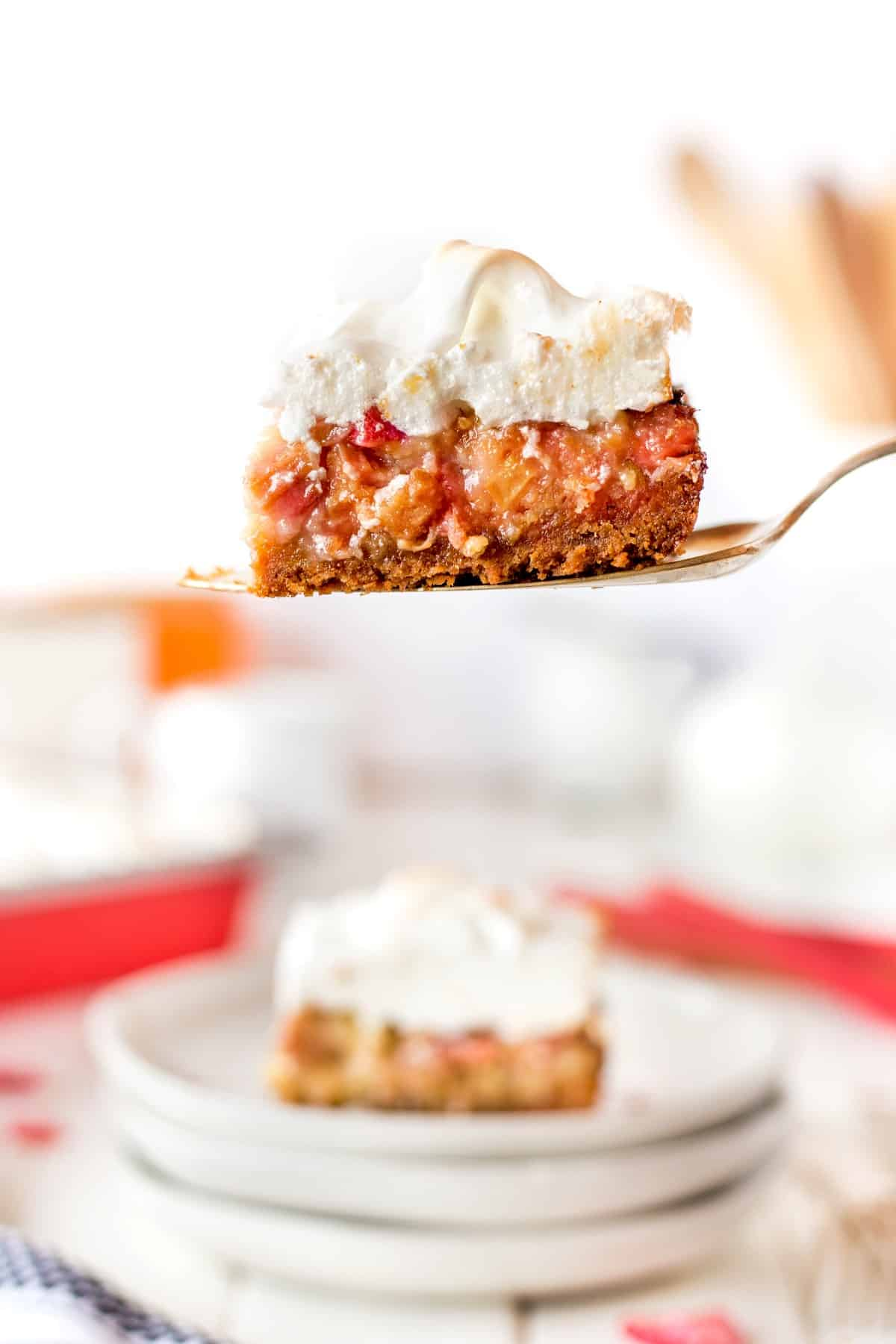 Rhubarb Meringue Dessert on a server.
