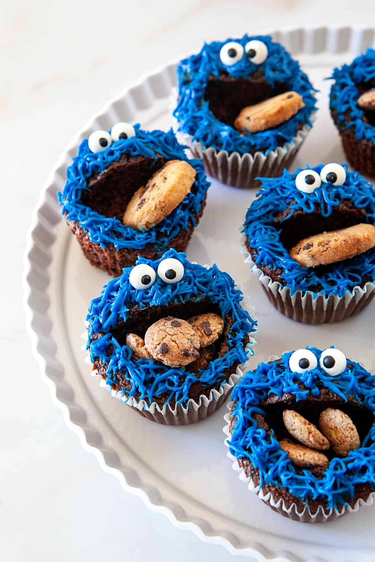 Fun Cookie Monster Cupcakes on a platter