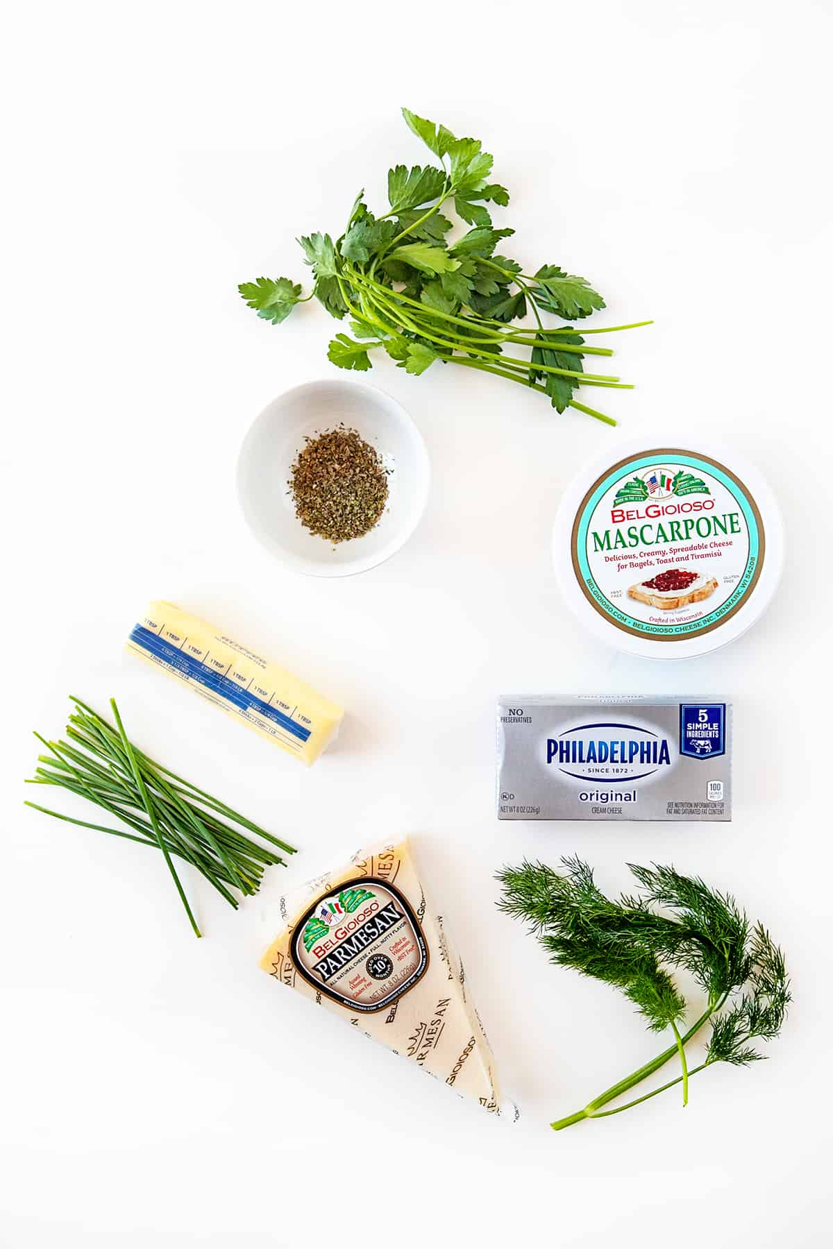 Ingredients for homemade boursin cheese recipe