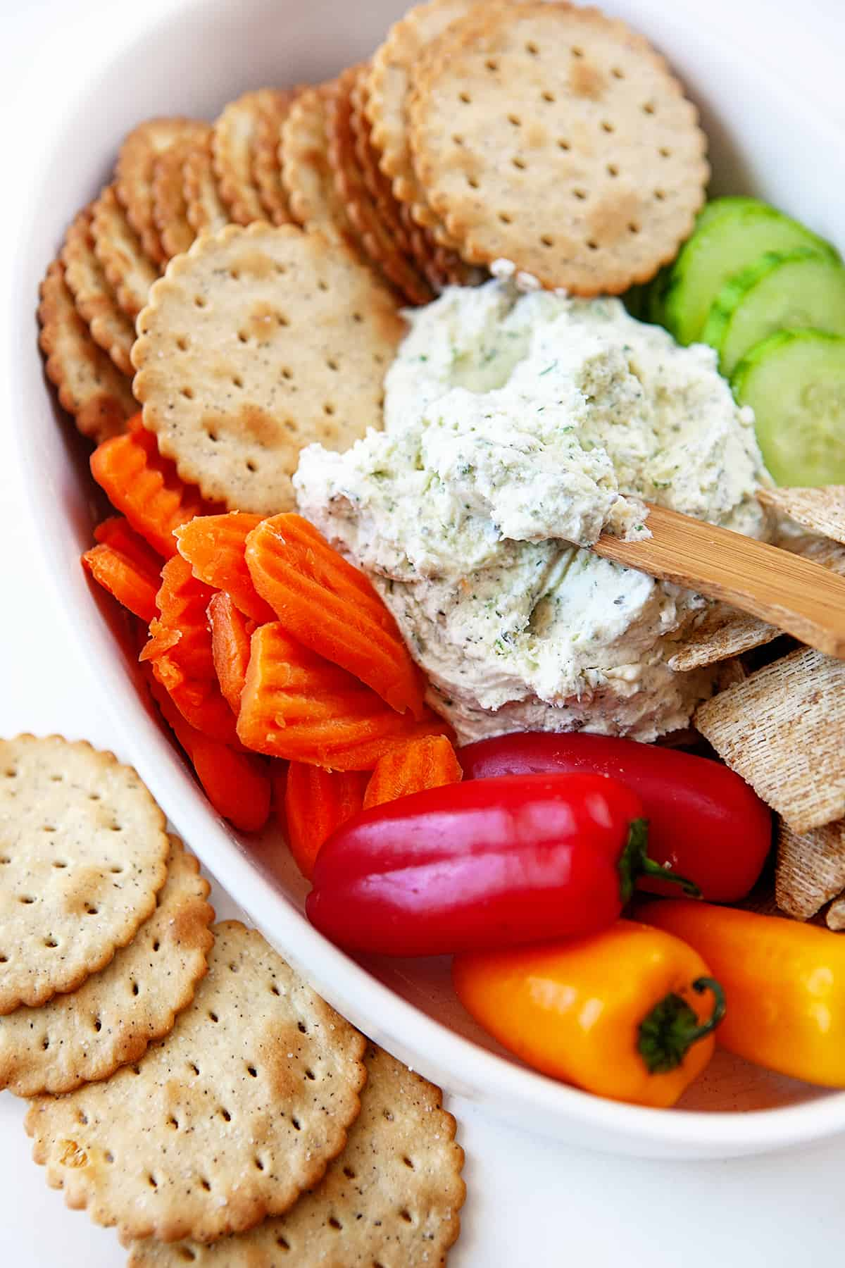 Close up of veggies, crackers and Boursin Cheese Recipe