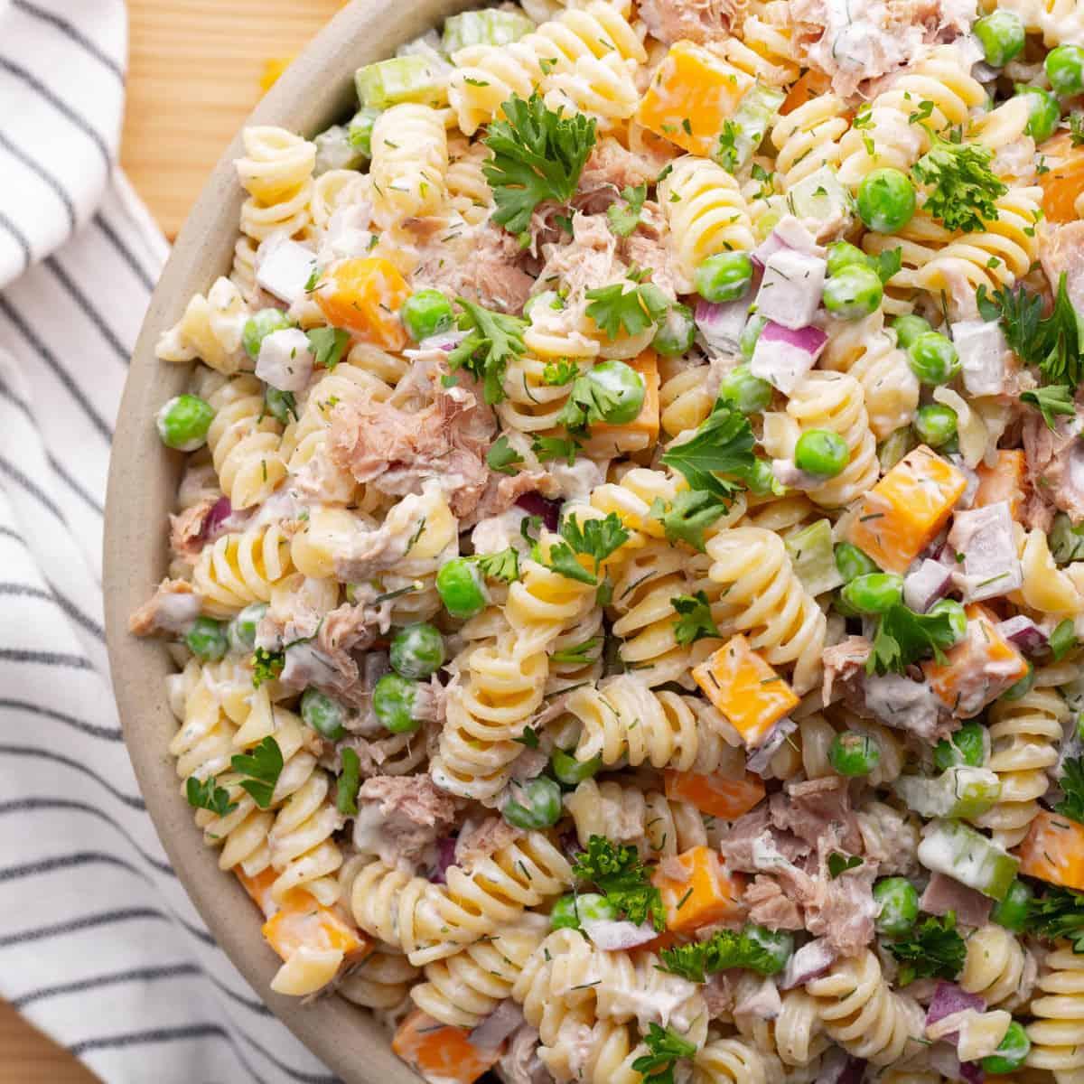 Overhead square shot of Creamy Tuna Pasta Salad