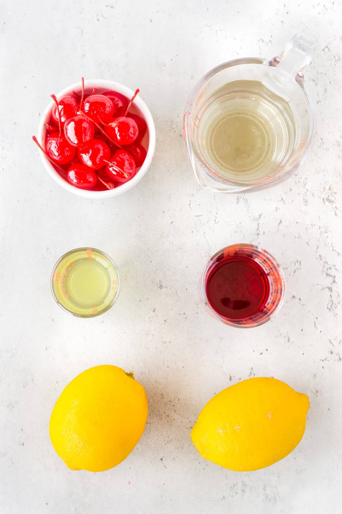Ingredients for Lemon Cherry Martinis