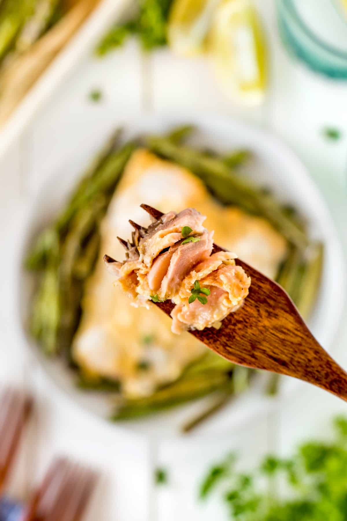 Overhead shot of salmon on a wooden fork