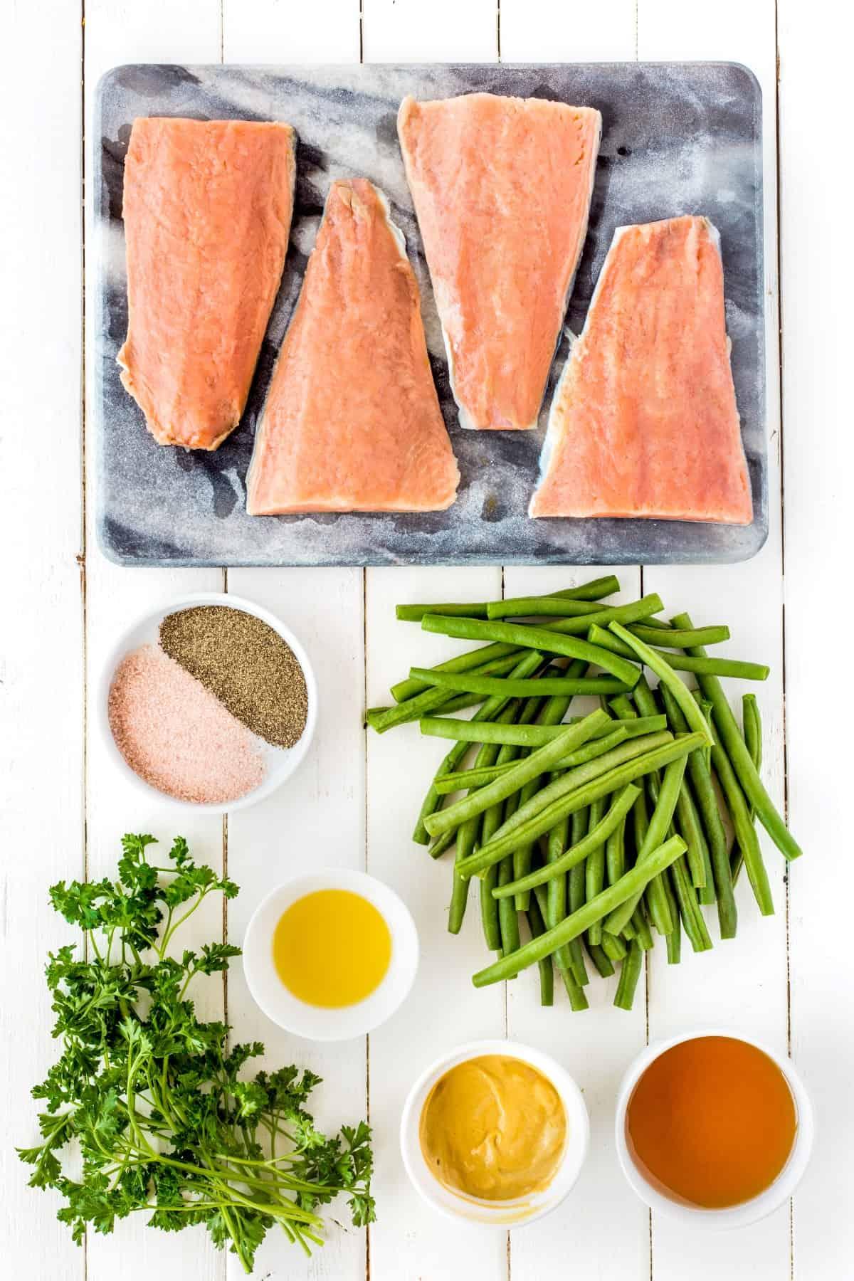 Ingredients for Maple Dijon Sheet Pan Salmon Dinner