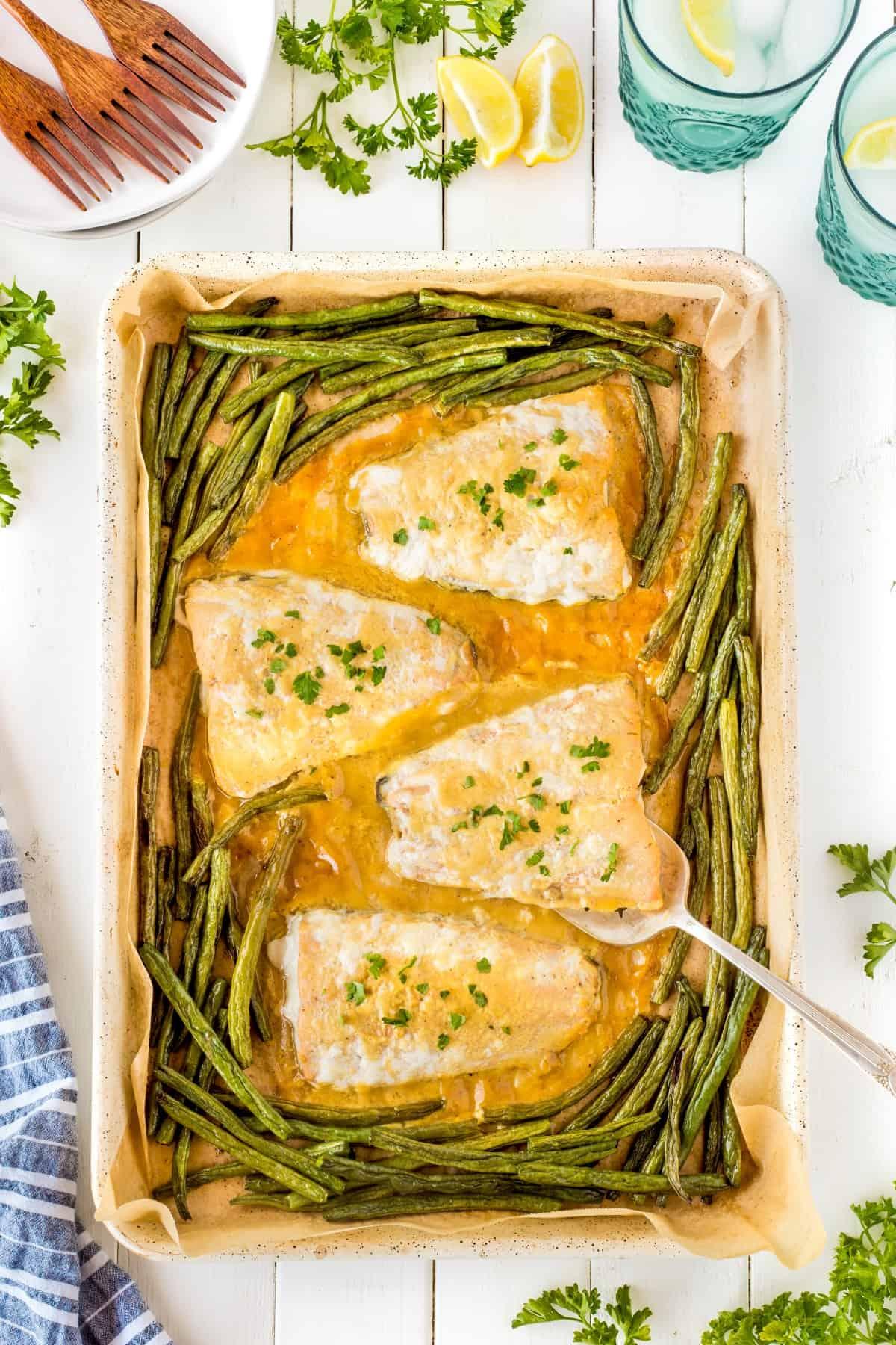 Overhead shot of Maple Dijon Sheet Pan Salmon Dinner