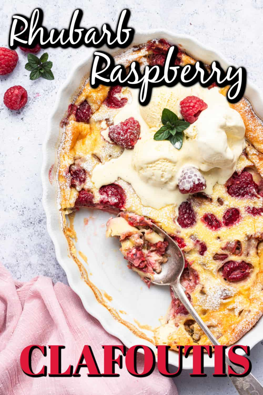 Rhubarb Raspberry Clafoutis Pin