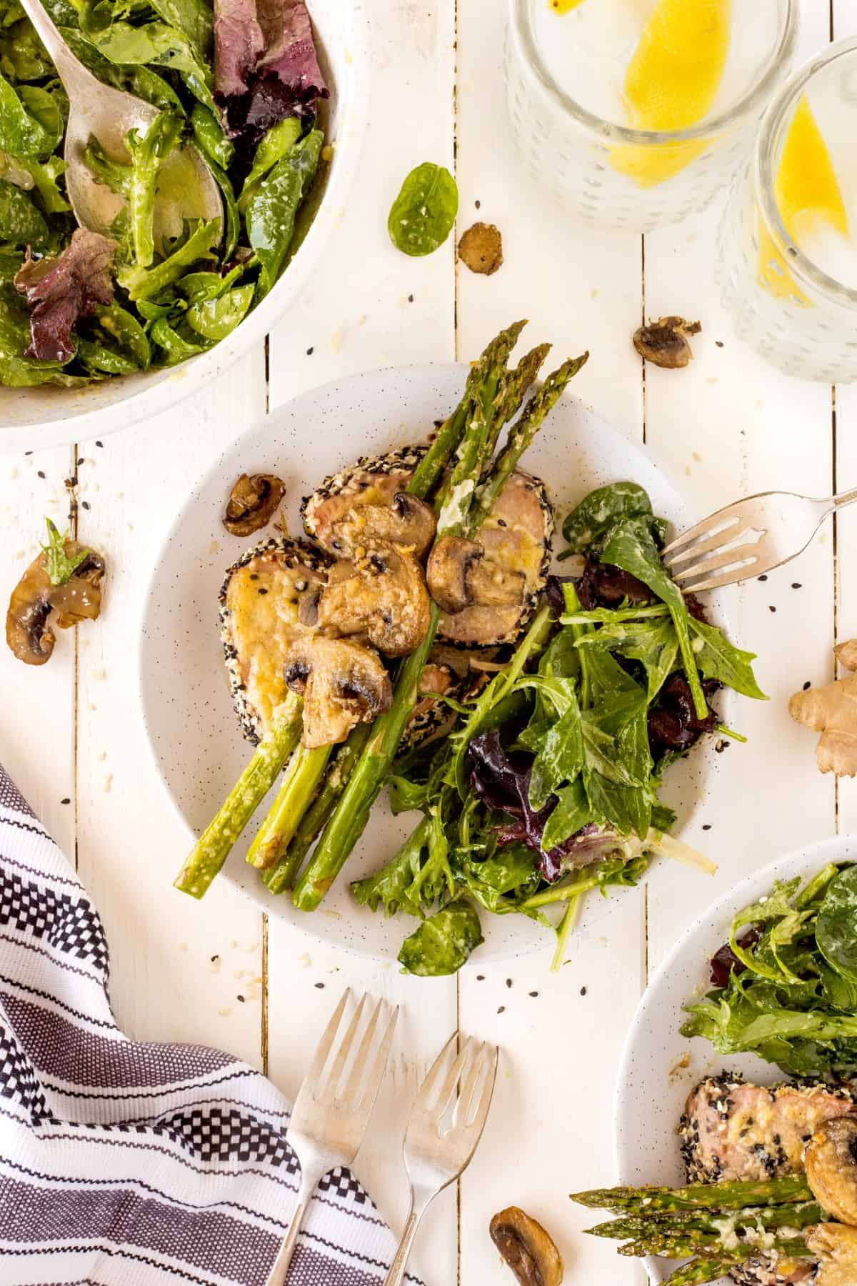 Overhead shot of Sheet Pan Tuna Steak Dinner on a plate