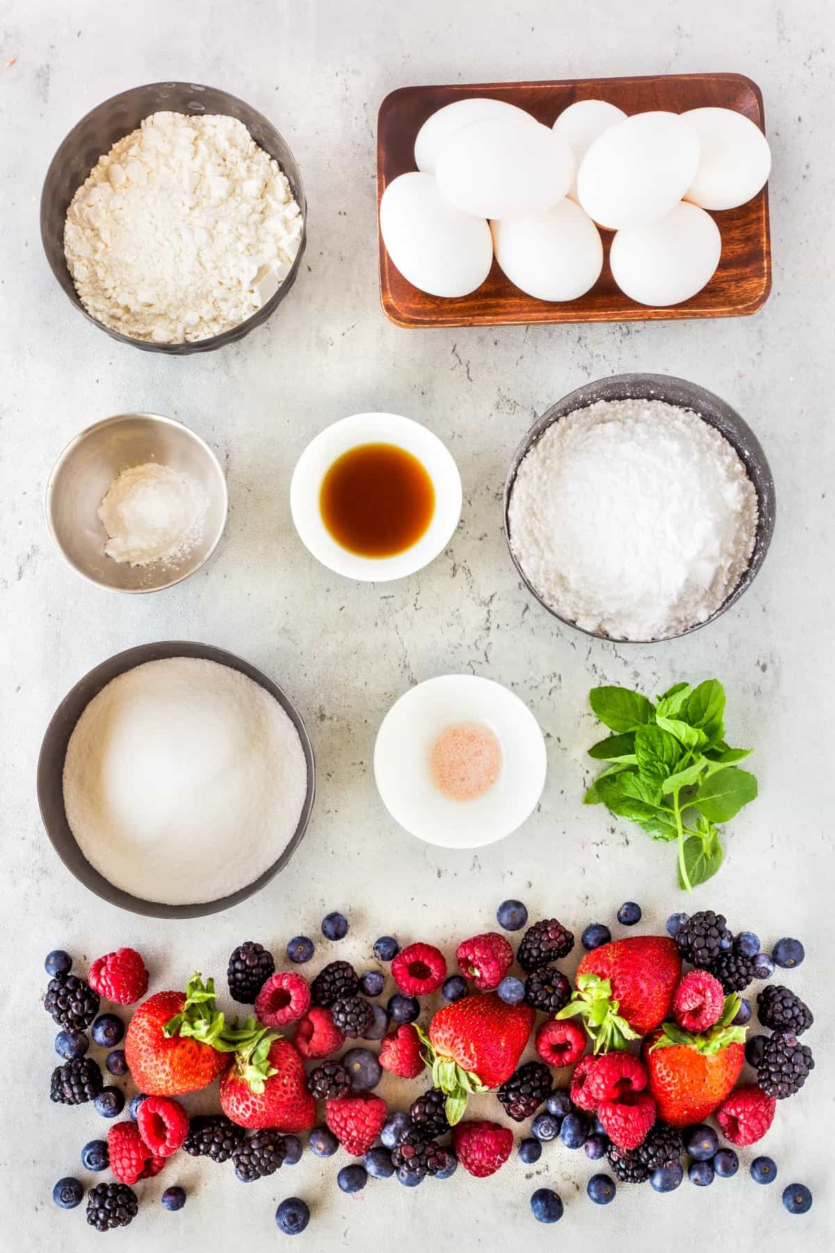Ingredients for angel food cake