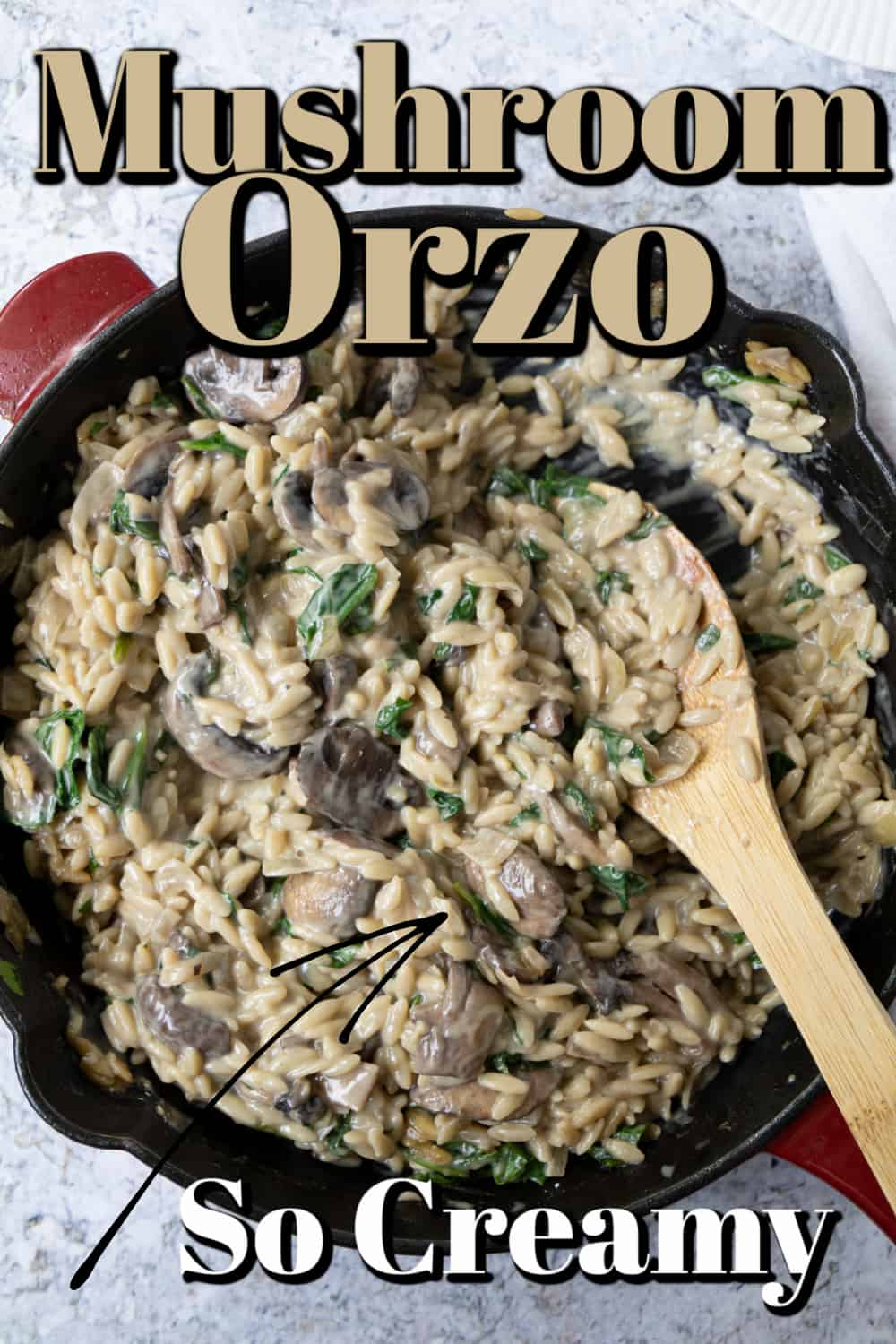 Creamy Mushroom Orzo With Spinach Pin