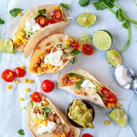 Overhead view of Easy Fast Rotisserie Chicken Tacos