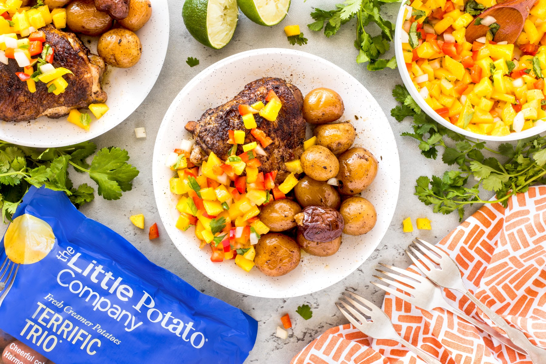 Overhead of jerk chicken dinner with a bag of potatoes and mango salsa in a bowl.