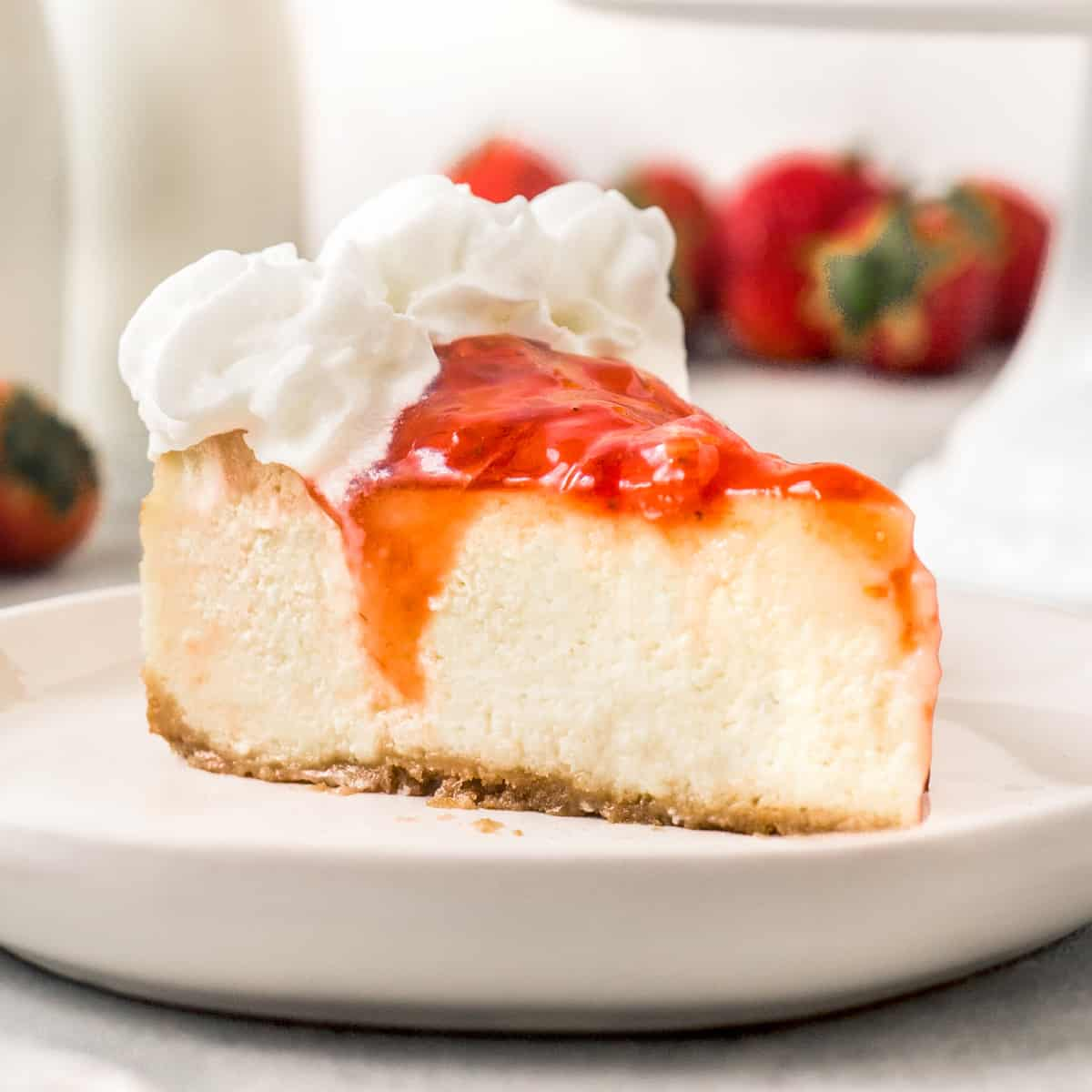 Slice of Light and Airy Strawberry Cheesecake