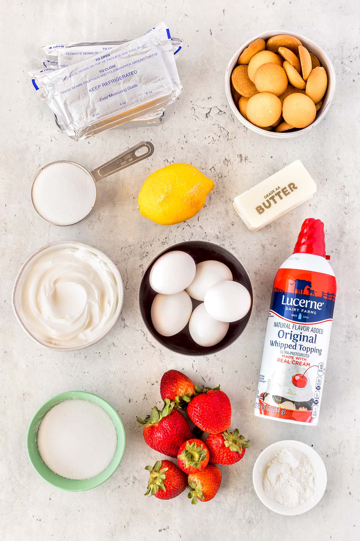 Ingredients for Light and Airy Strawberry Cheesecake