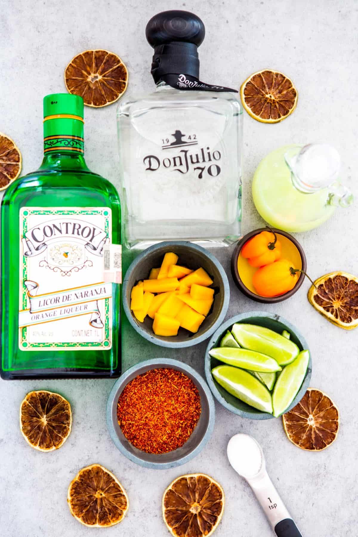 Ingredients including booze for Mango Habanero Margaritas.