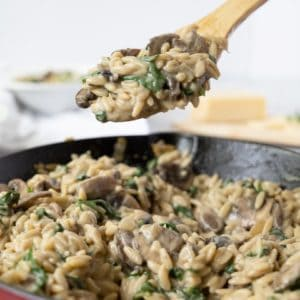 Taking a spoonful of mushroom orzo from the pan