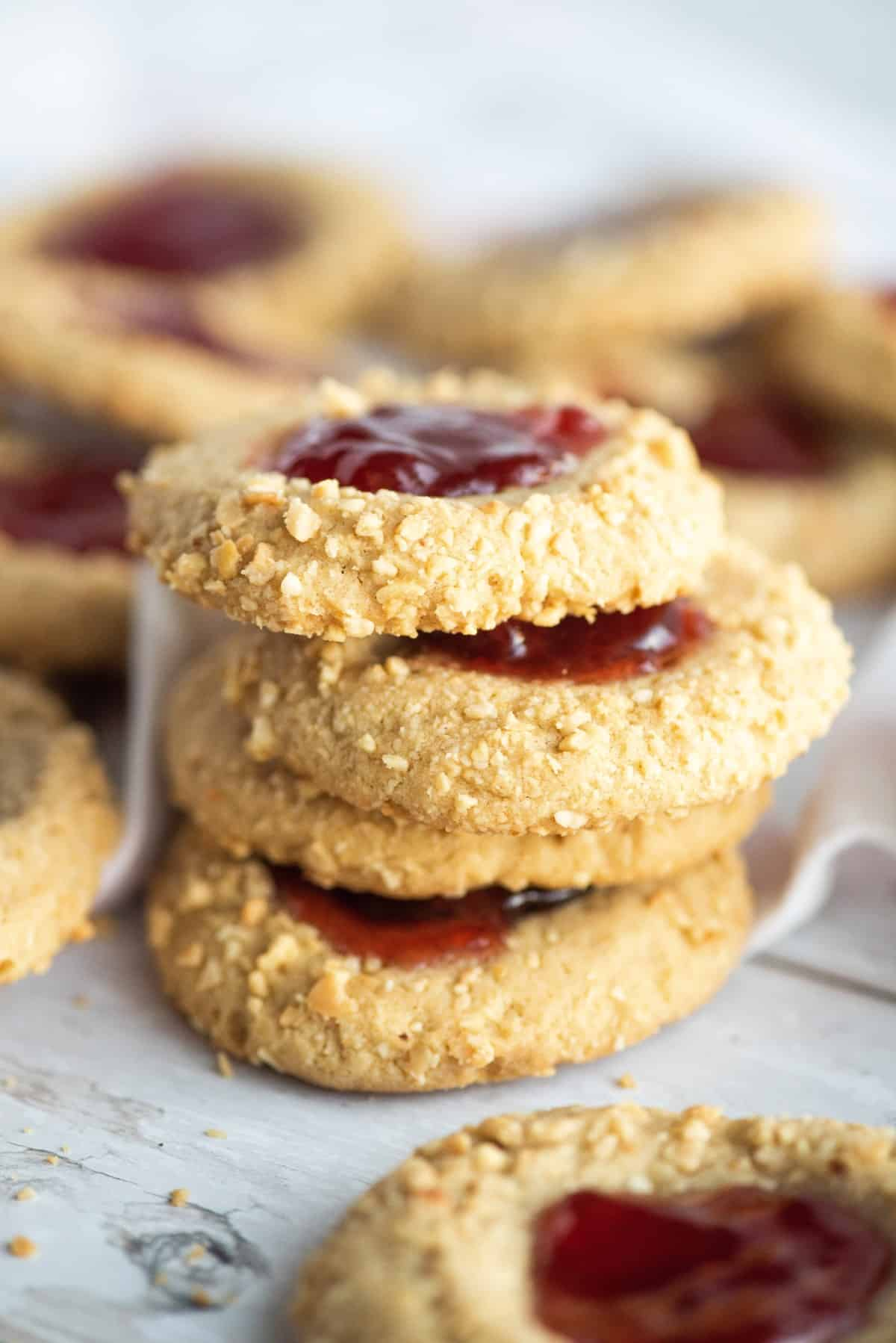 Peanut Butter and Jelly Cookies stacked.