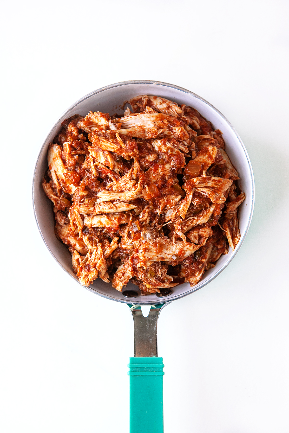 Chicken in a pot with salsa