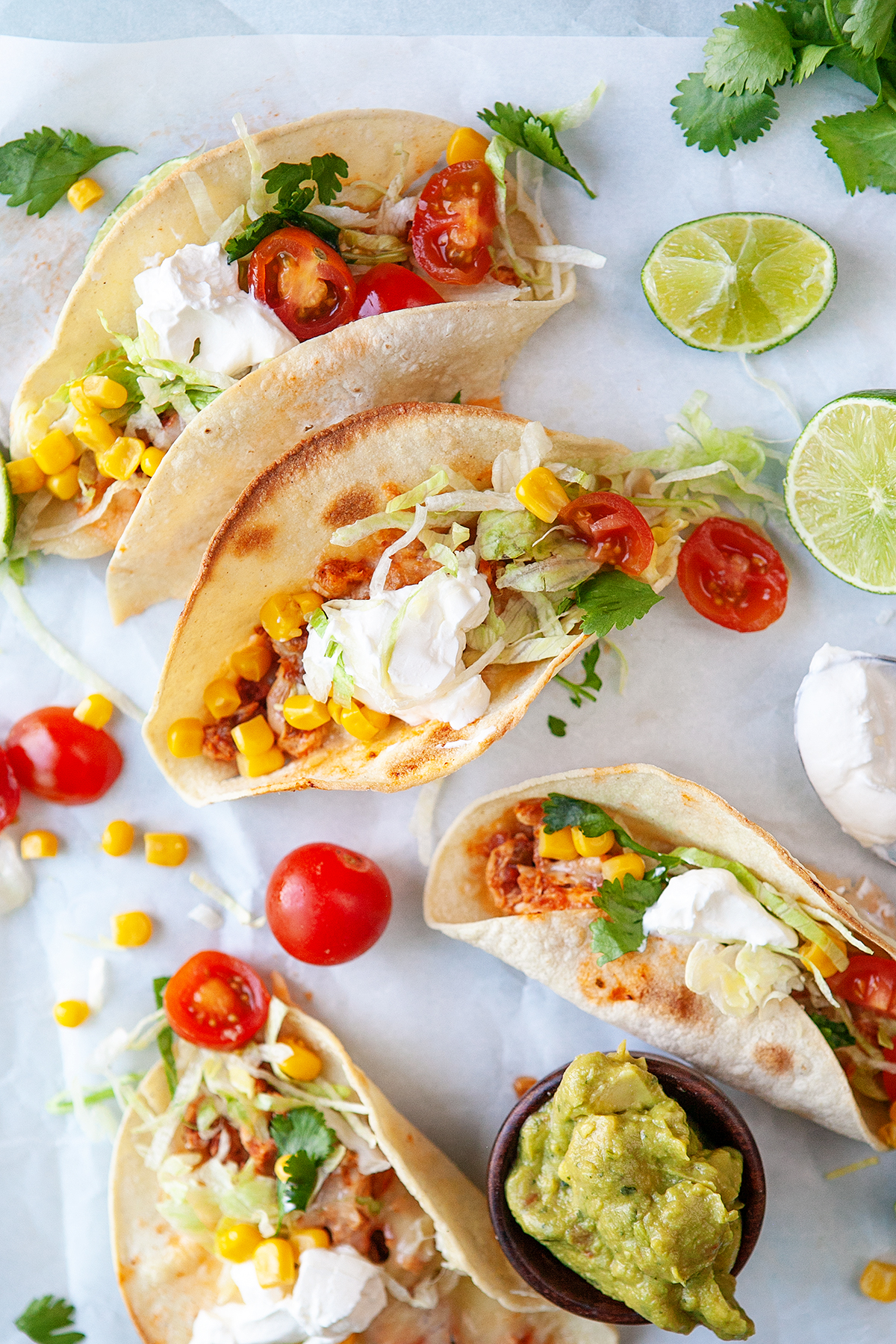 Overhead view of Fast Easy Rotisserie Chicken Tacos