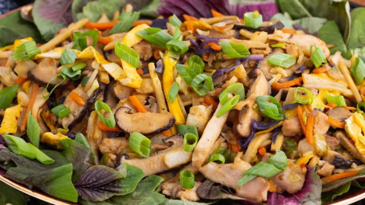A platter full of colourful Moo Shu Chicken.