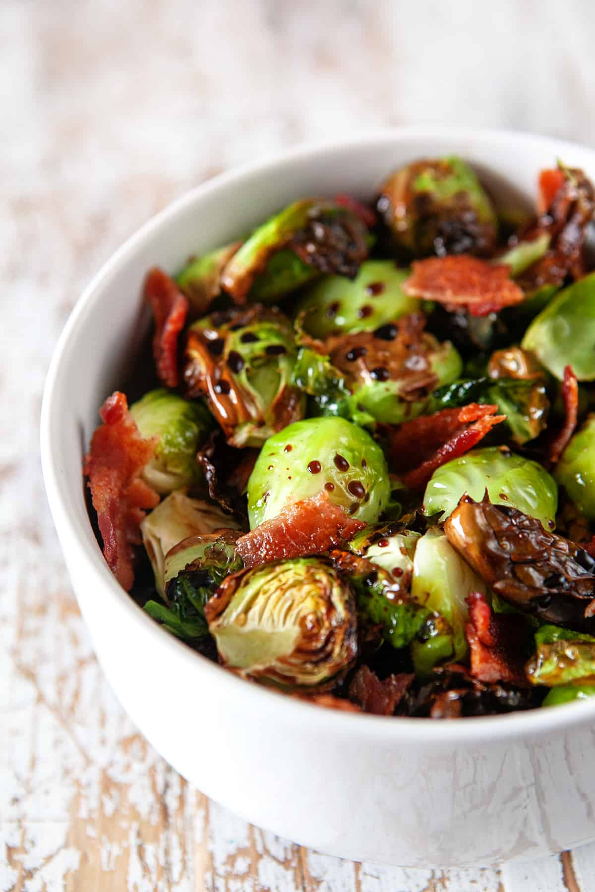 Air Fryer Brussels Sprouts with Balsamic Vinegar and Bacon