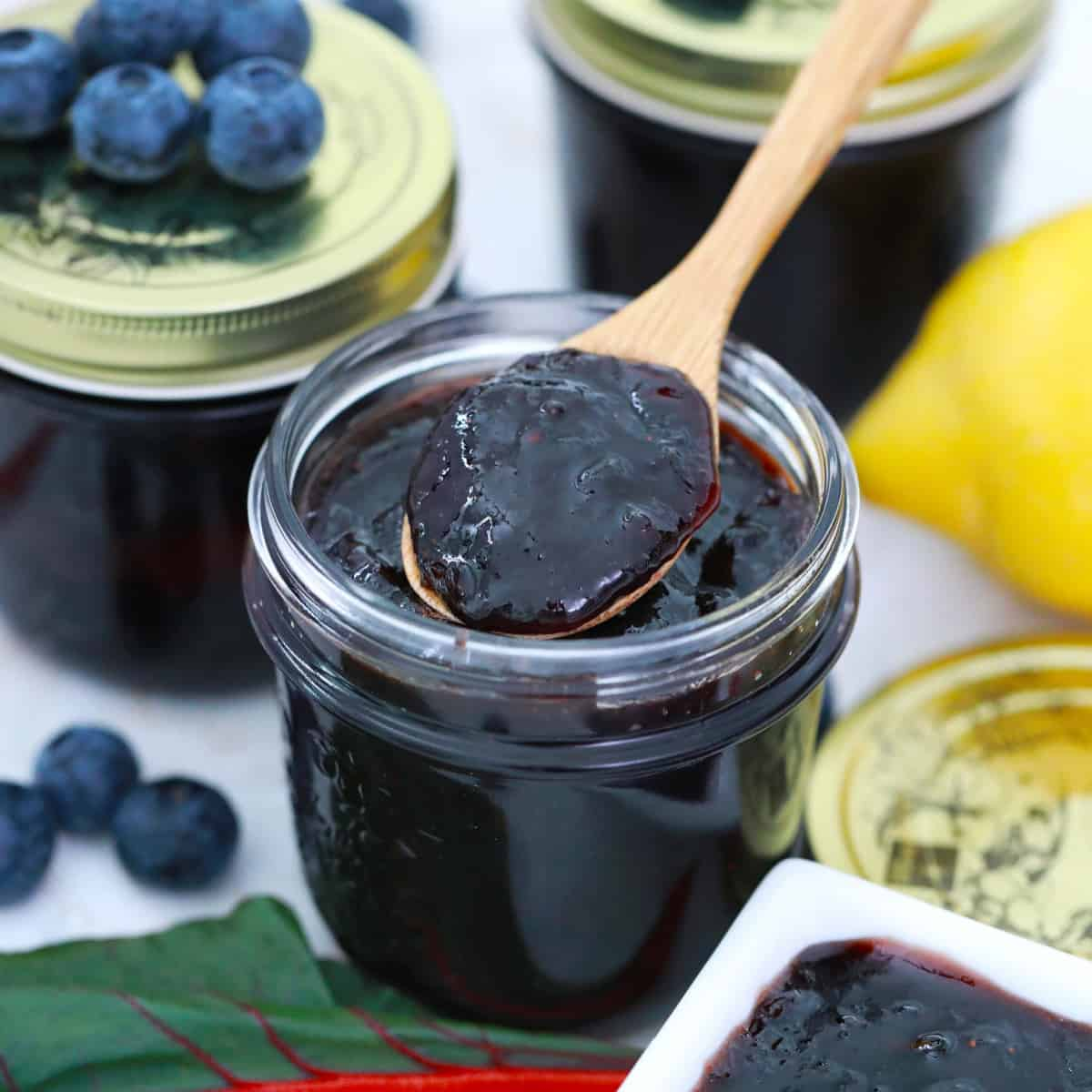 Spooning out blueberry rhubarb jam