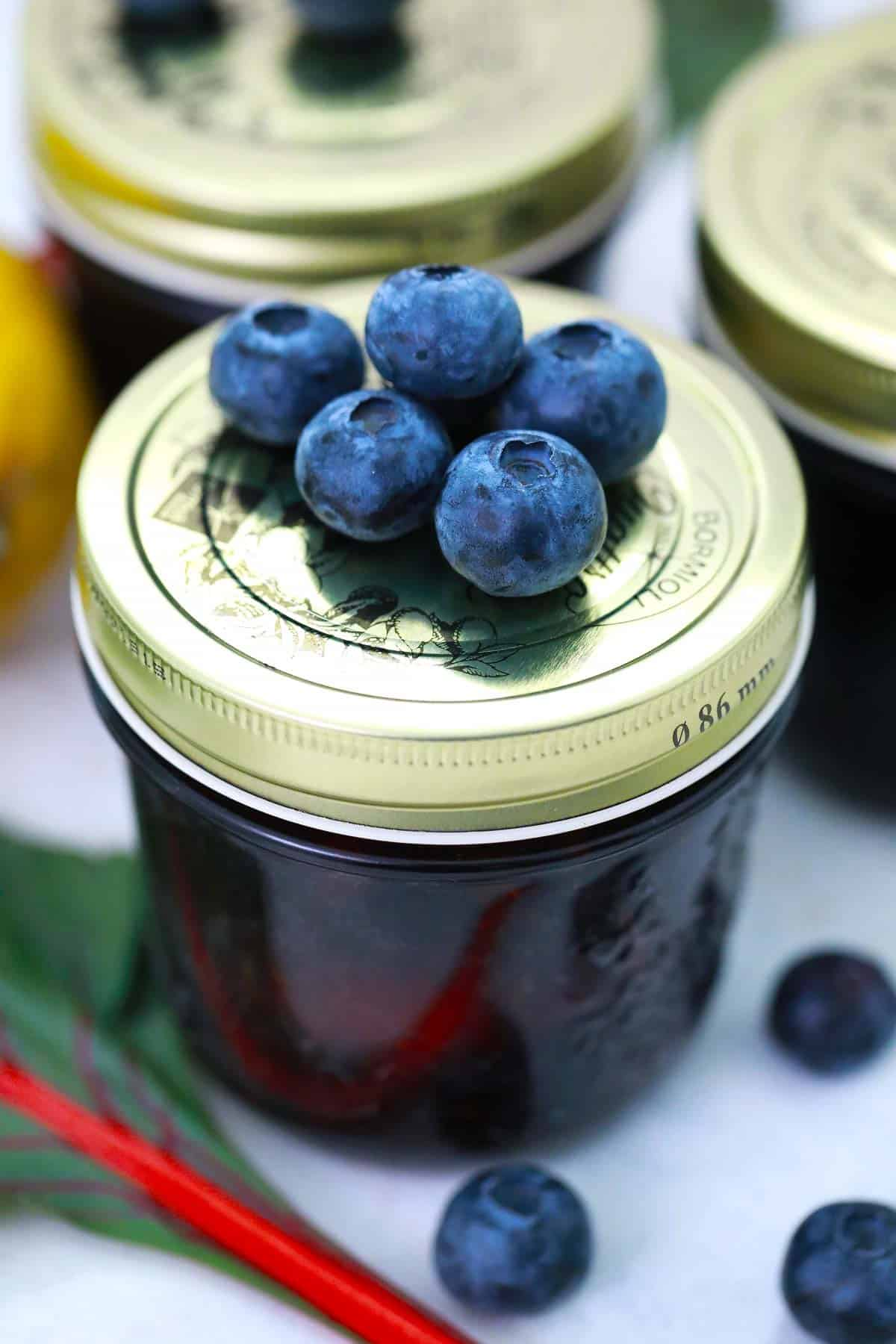 Jar of jam with blueberries no top