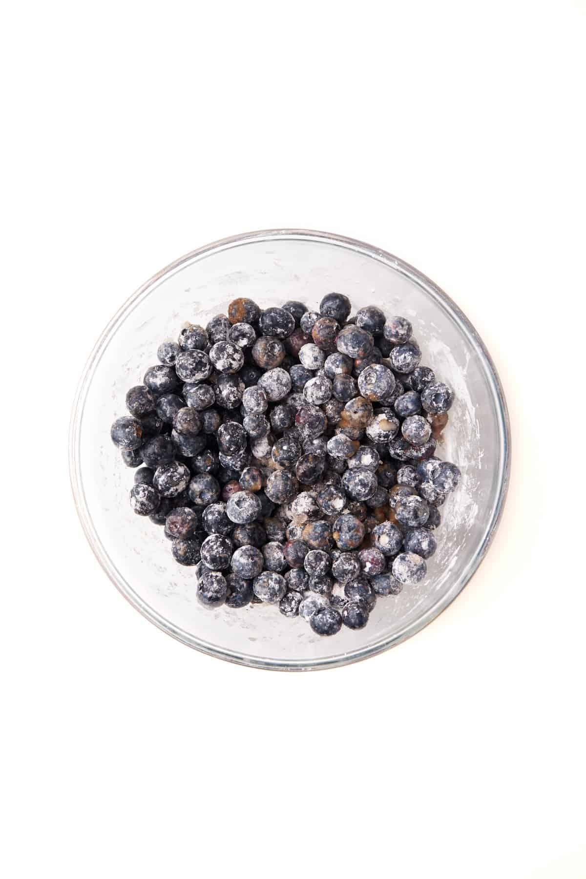 Blueberry Pie filling mixed in a bowl