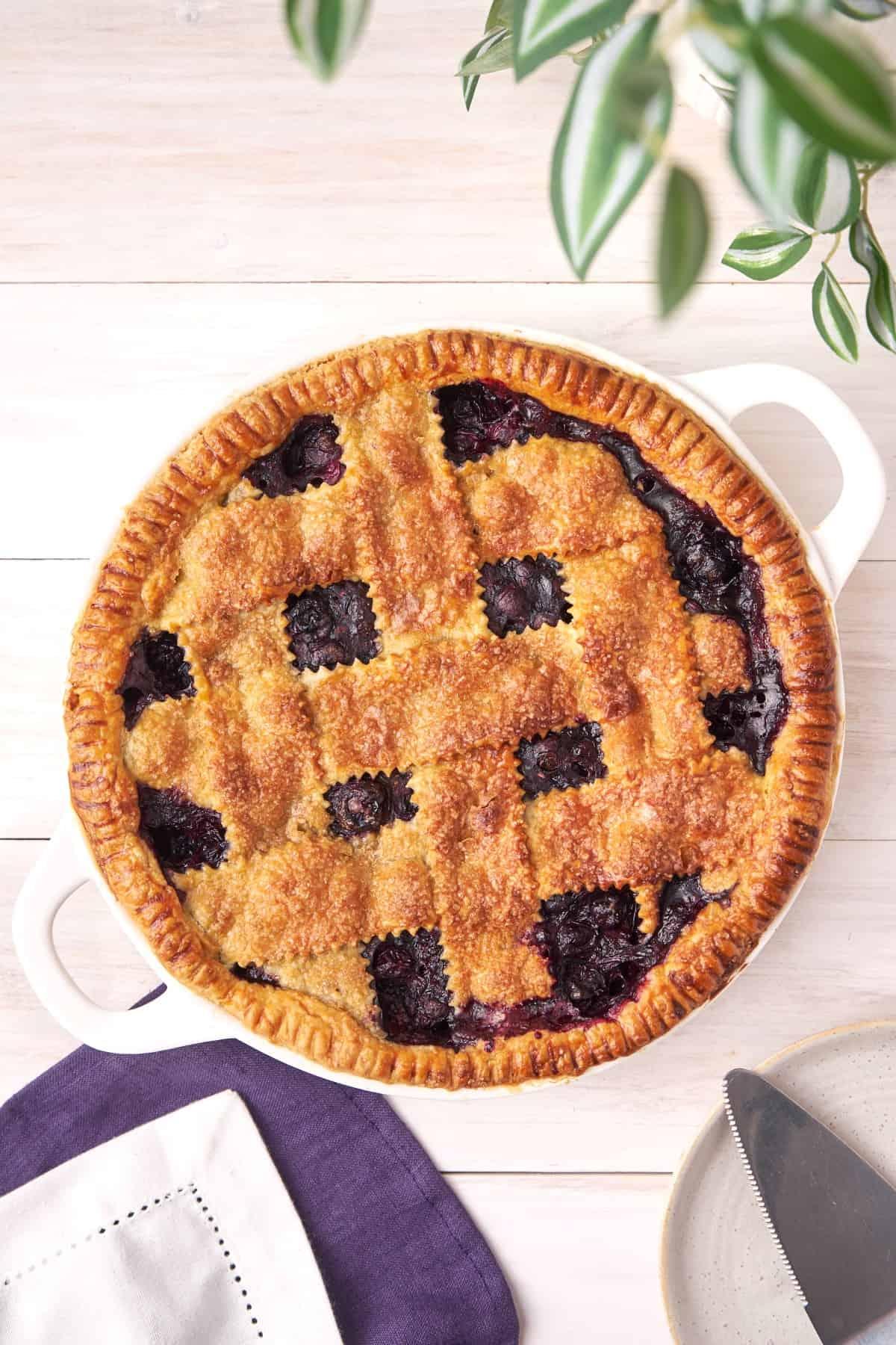 Overhead shot of blueberry pie