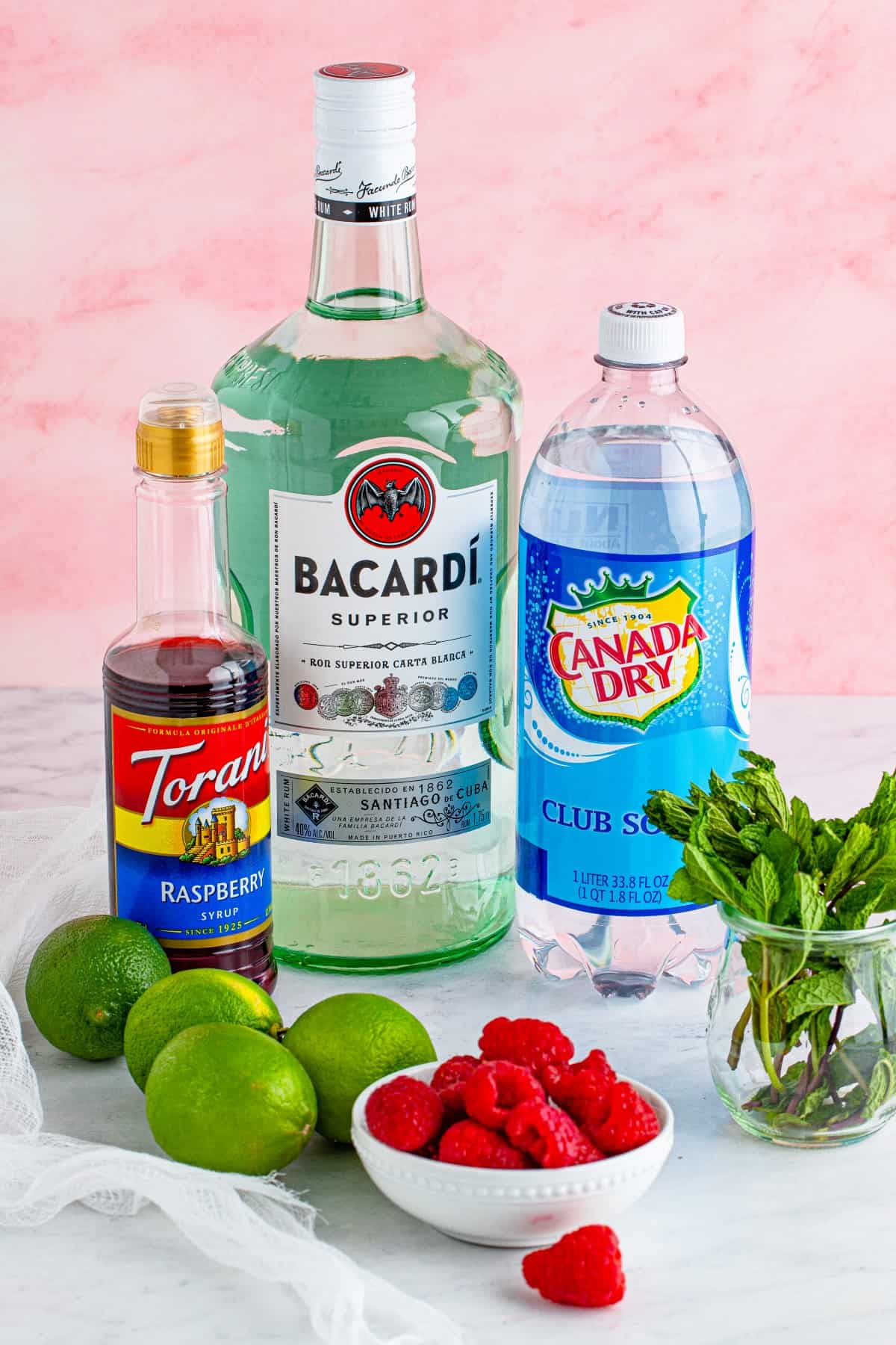 Ingredients for Raspberry Mojitos
