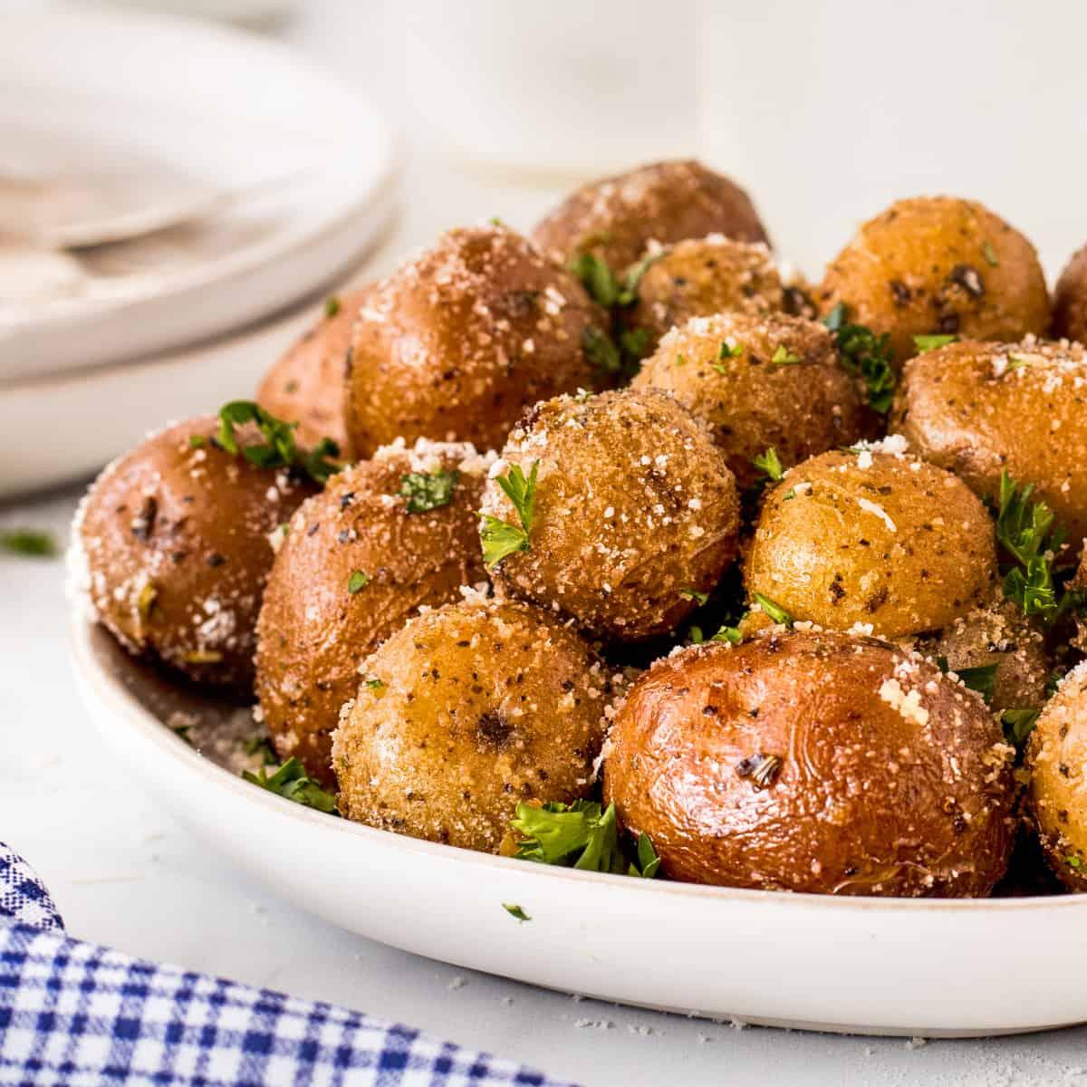 Close up for Garlic Herb Smoked Potatoes