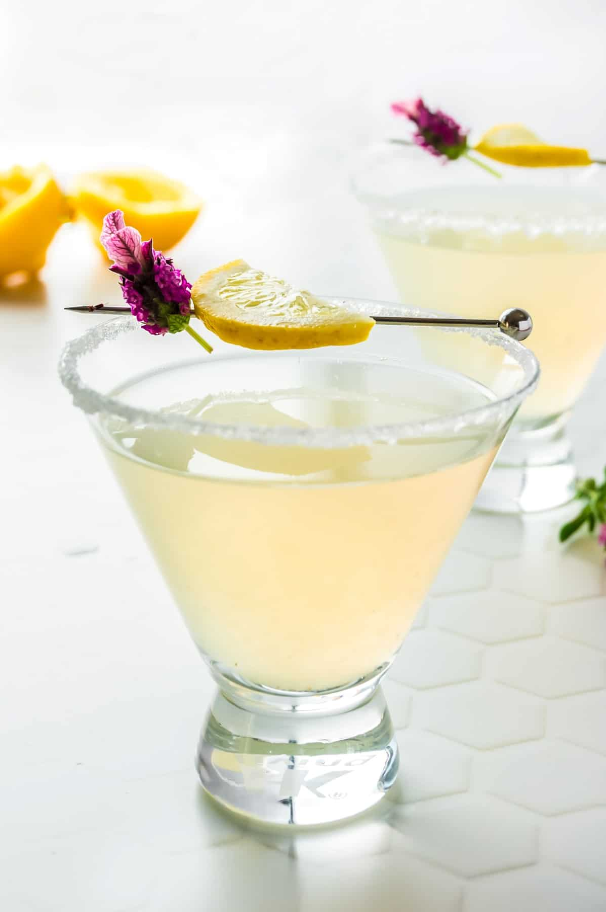 Front view of Lemon Drop Martinis