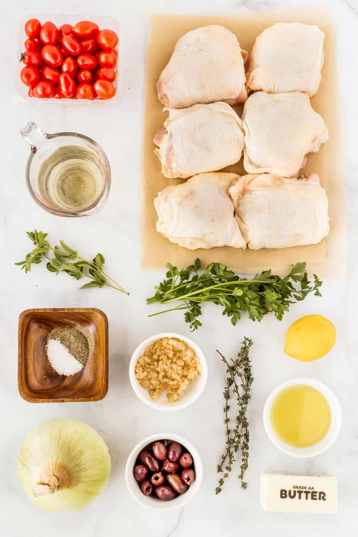 Ingredients for Skillet Chicken With Olives and Tomatoes