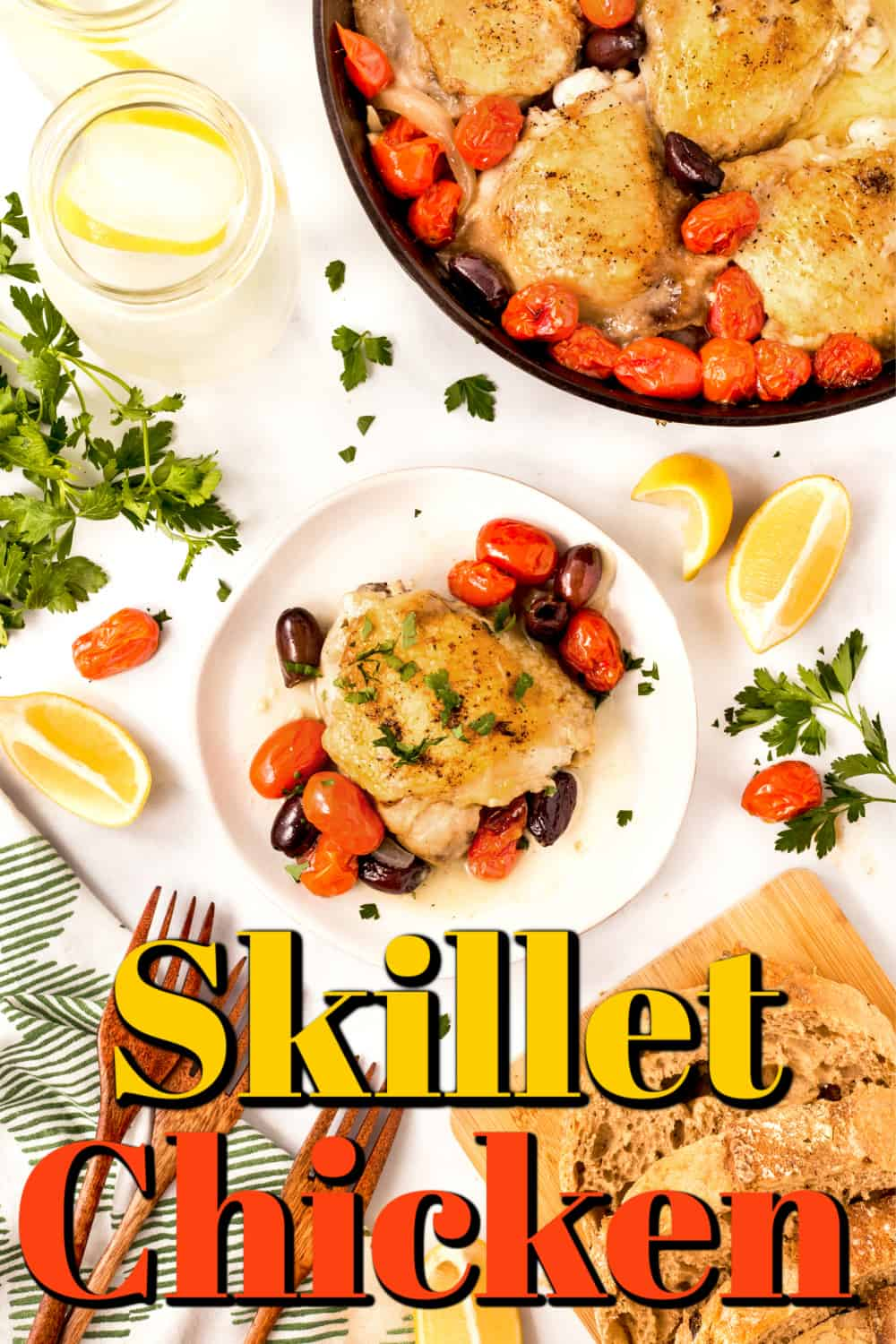 Skillet Chicken with Olives and Tomatoes Pin