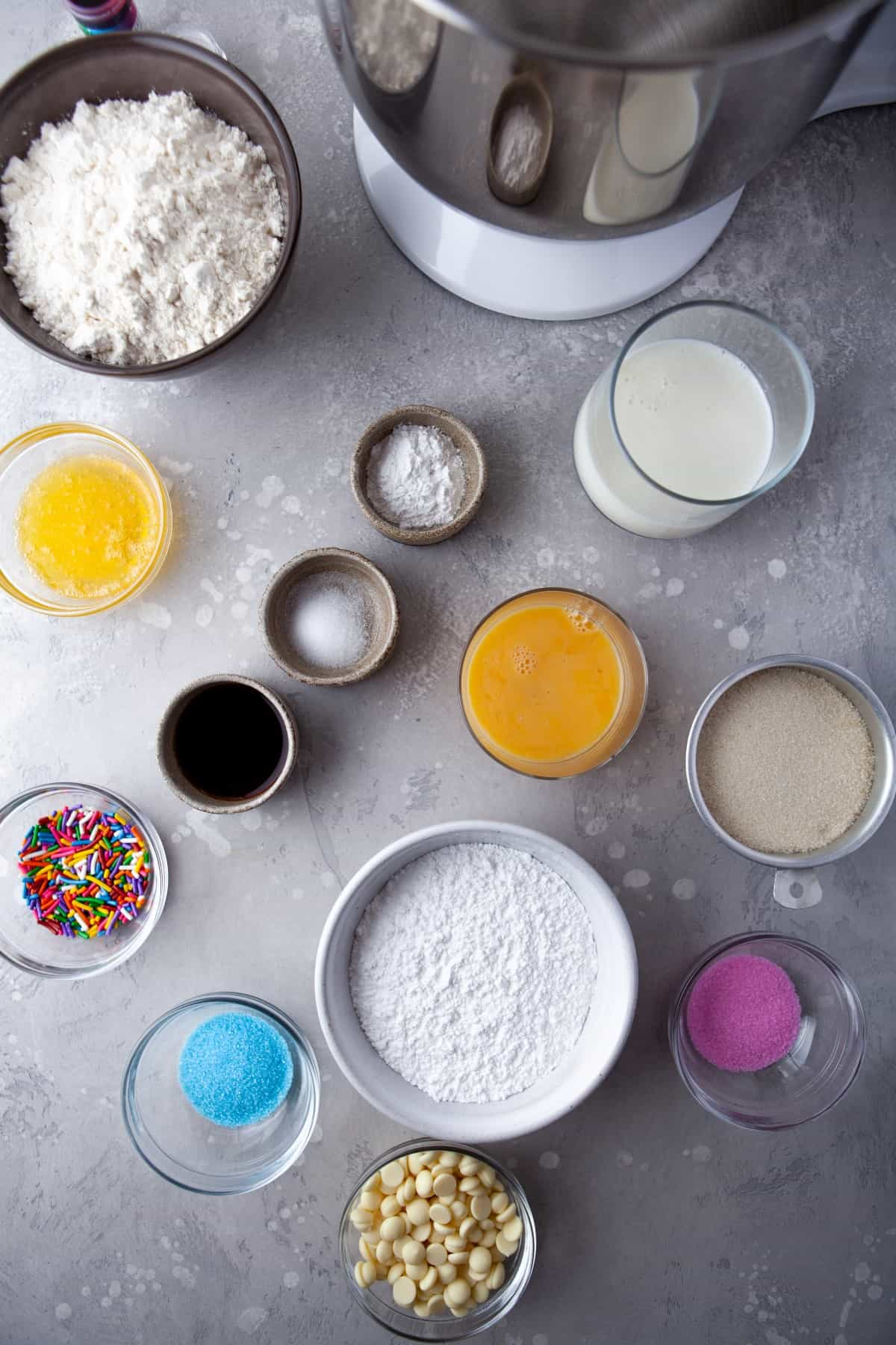 Ingredients for Vanilla Baked Buttermilk Donuts.