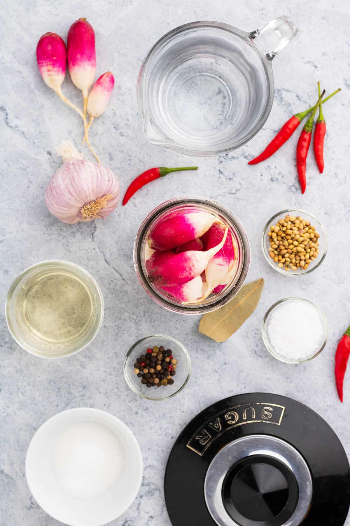 Ingredients used in making quick pickled radishes.