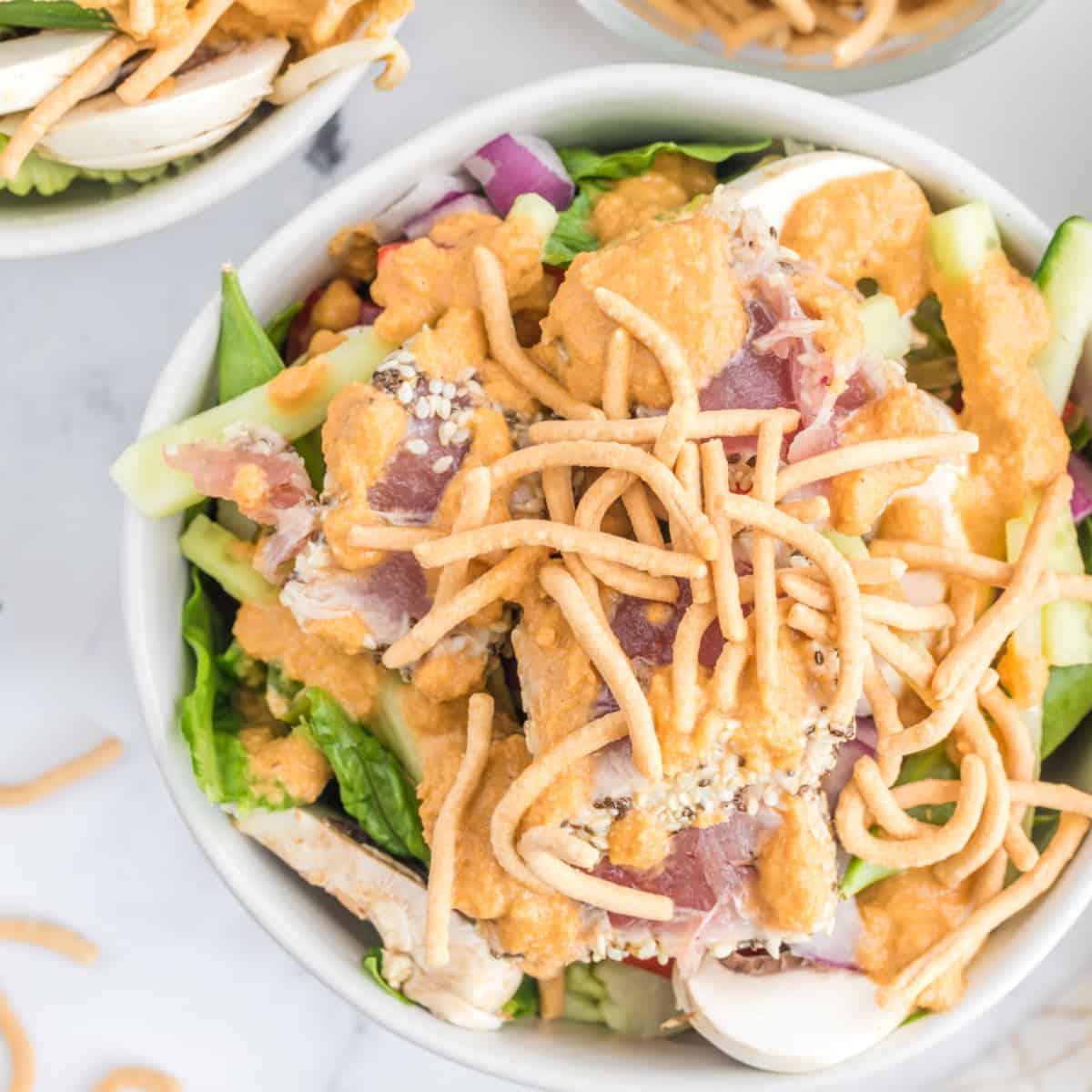 Overhead view of Ahi Tuna Salad