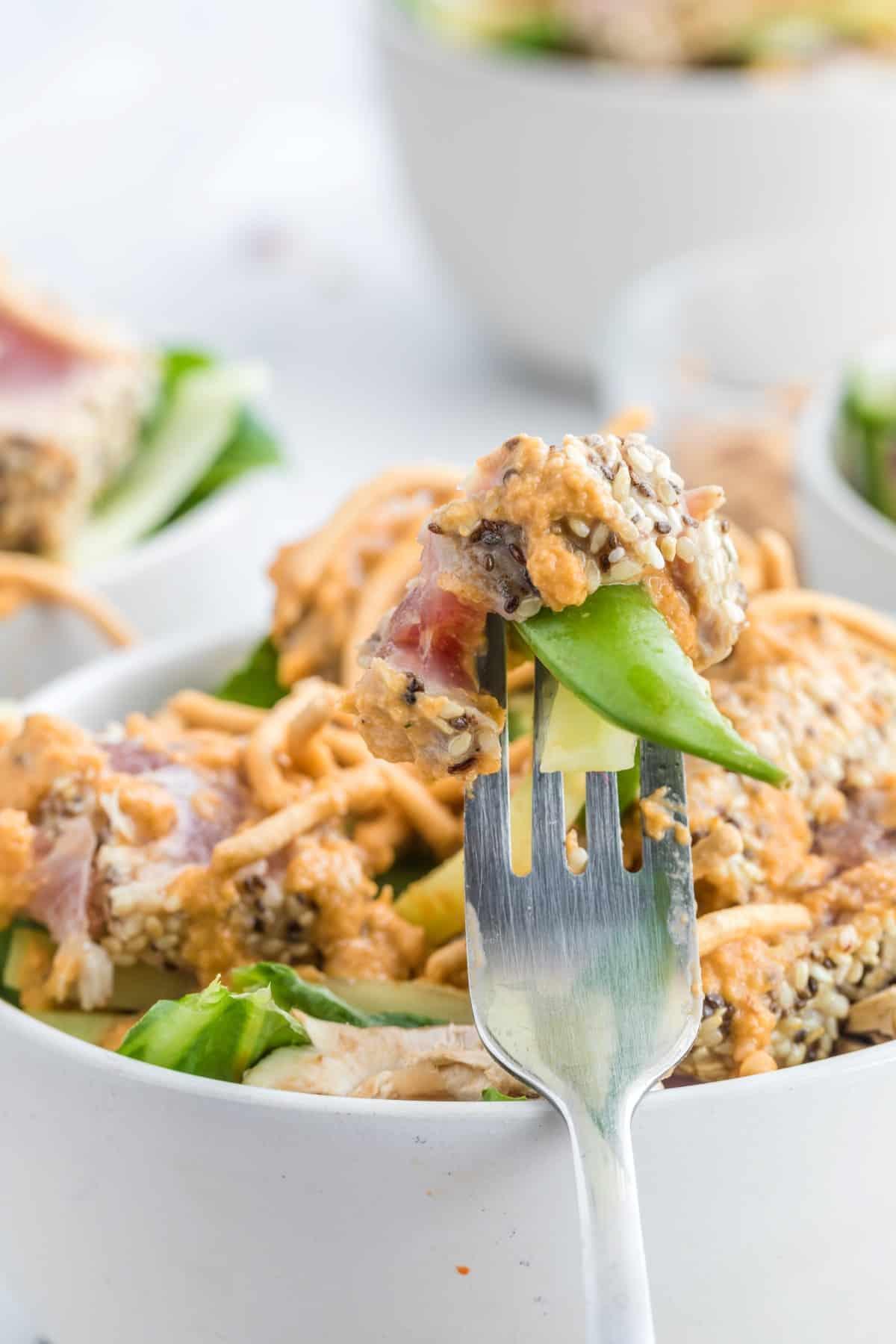 Forkful of Ahi Tuna Salad