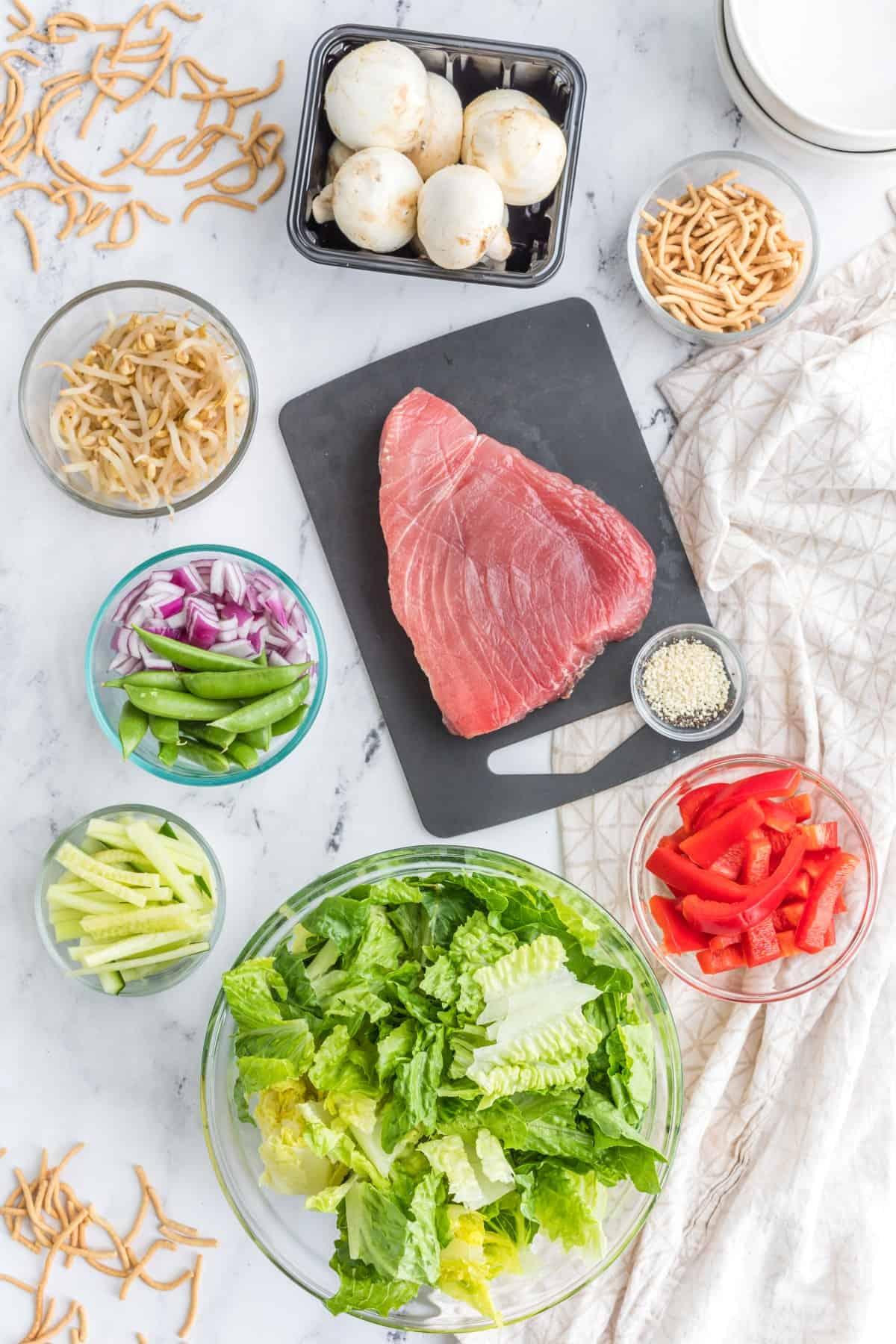 Ingredients for Ahi Tuna Salad