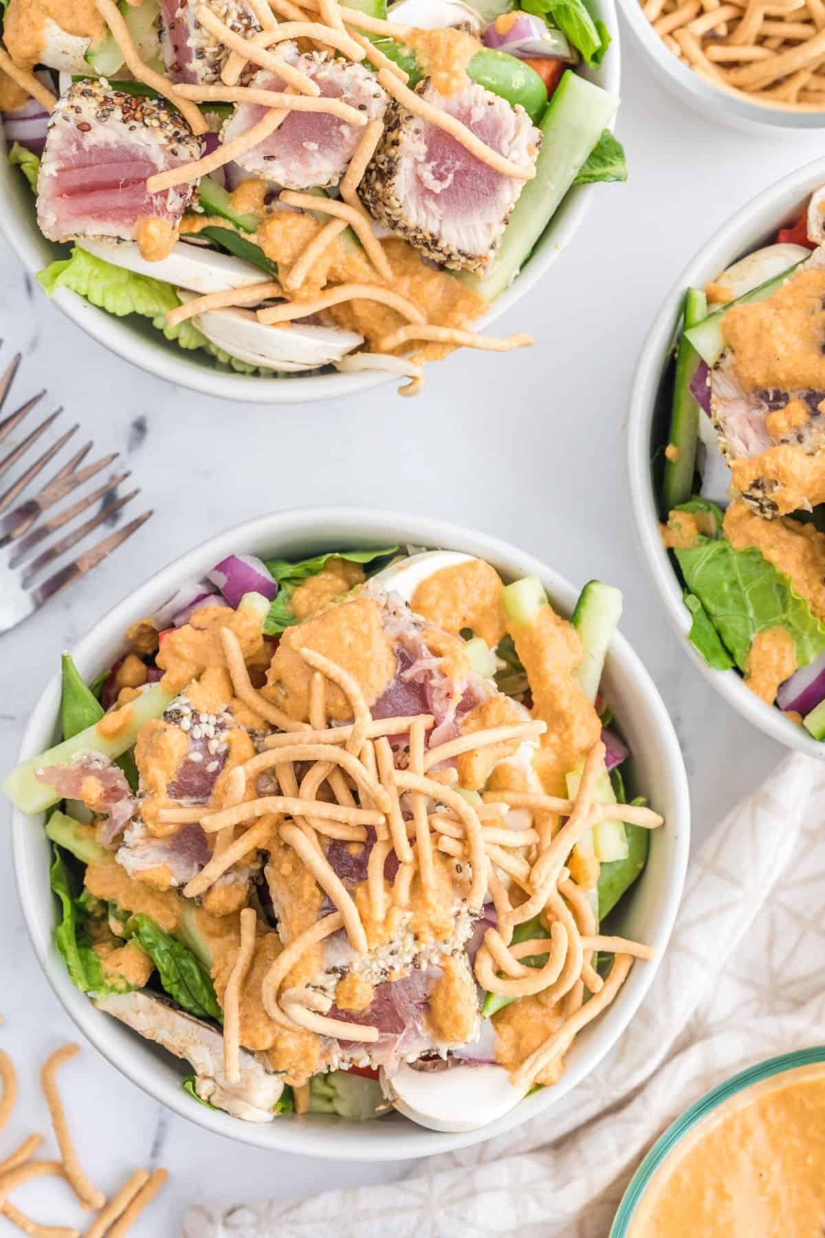 Overhead view of bowls of Ahi Tuna Salad