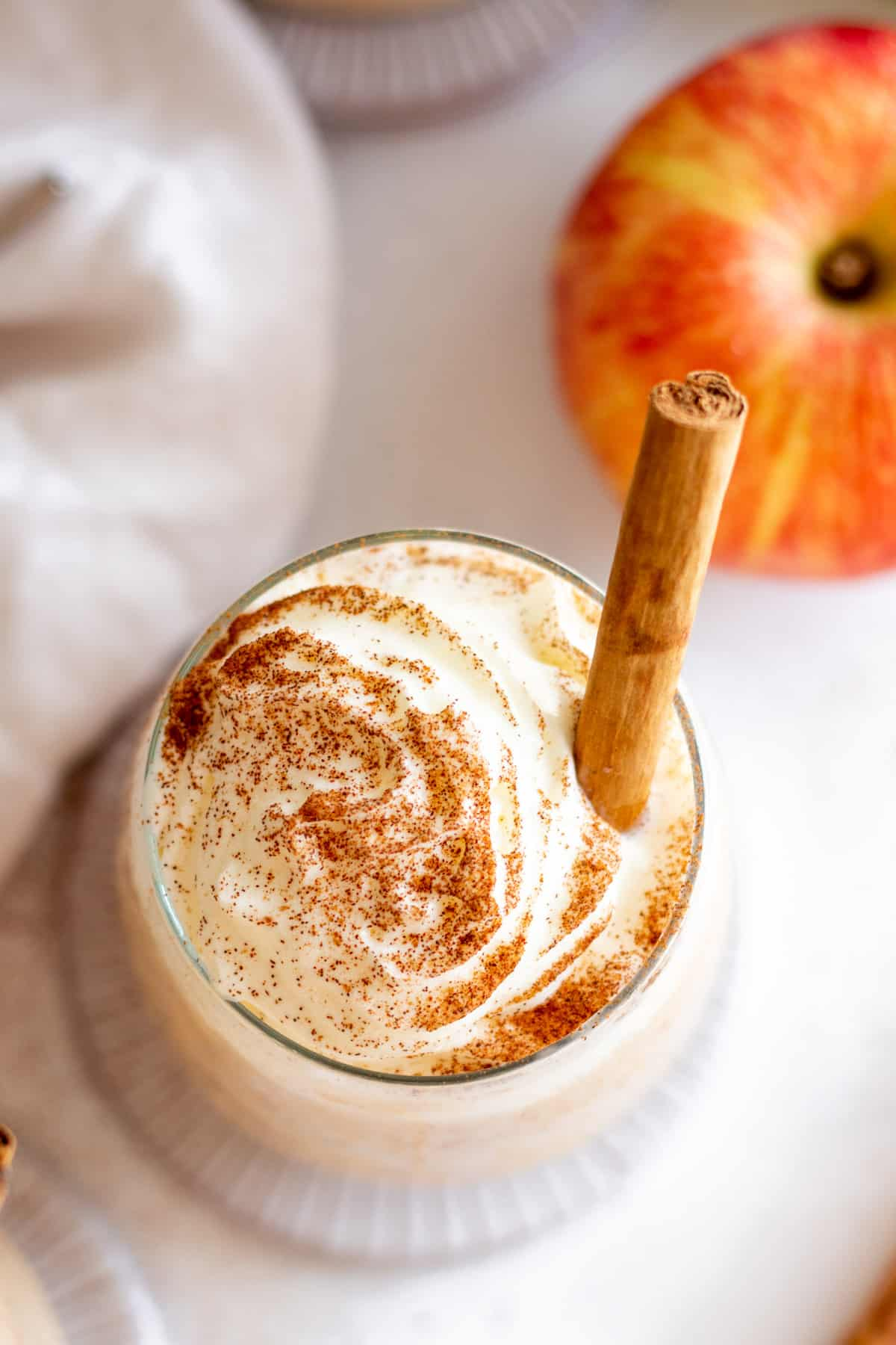 Overhead of an apple pie smoothie