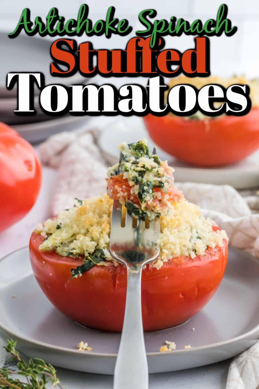 Spinach Artichoke Stuffed Tomatoes Pin