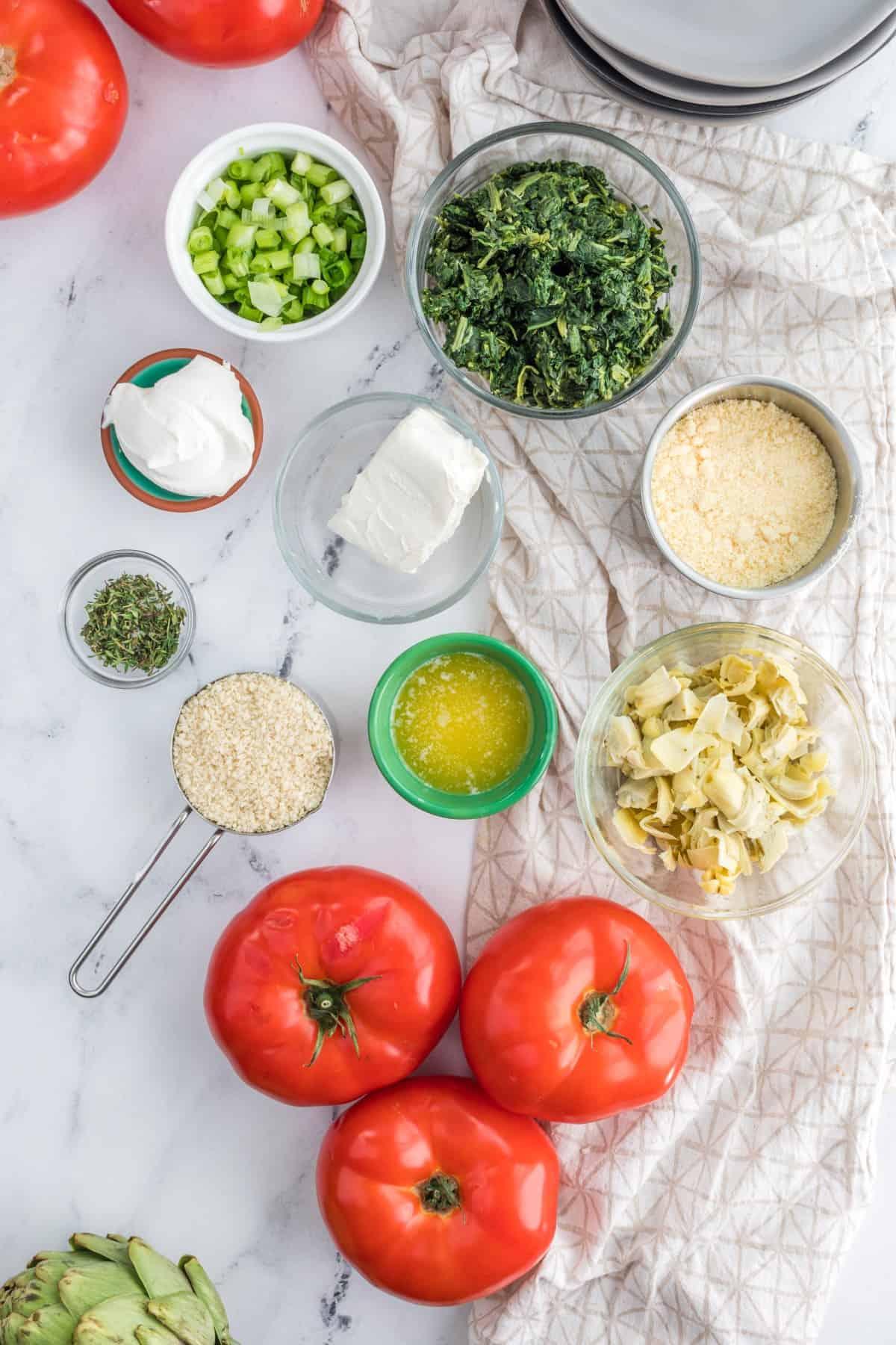 Ingredients for Artichoke Stuffed Tomatoes
