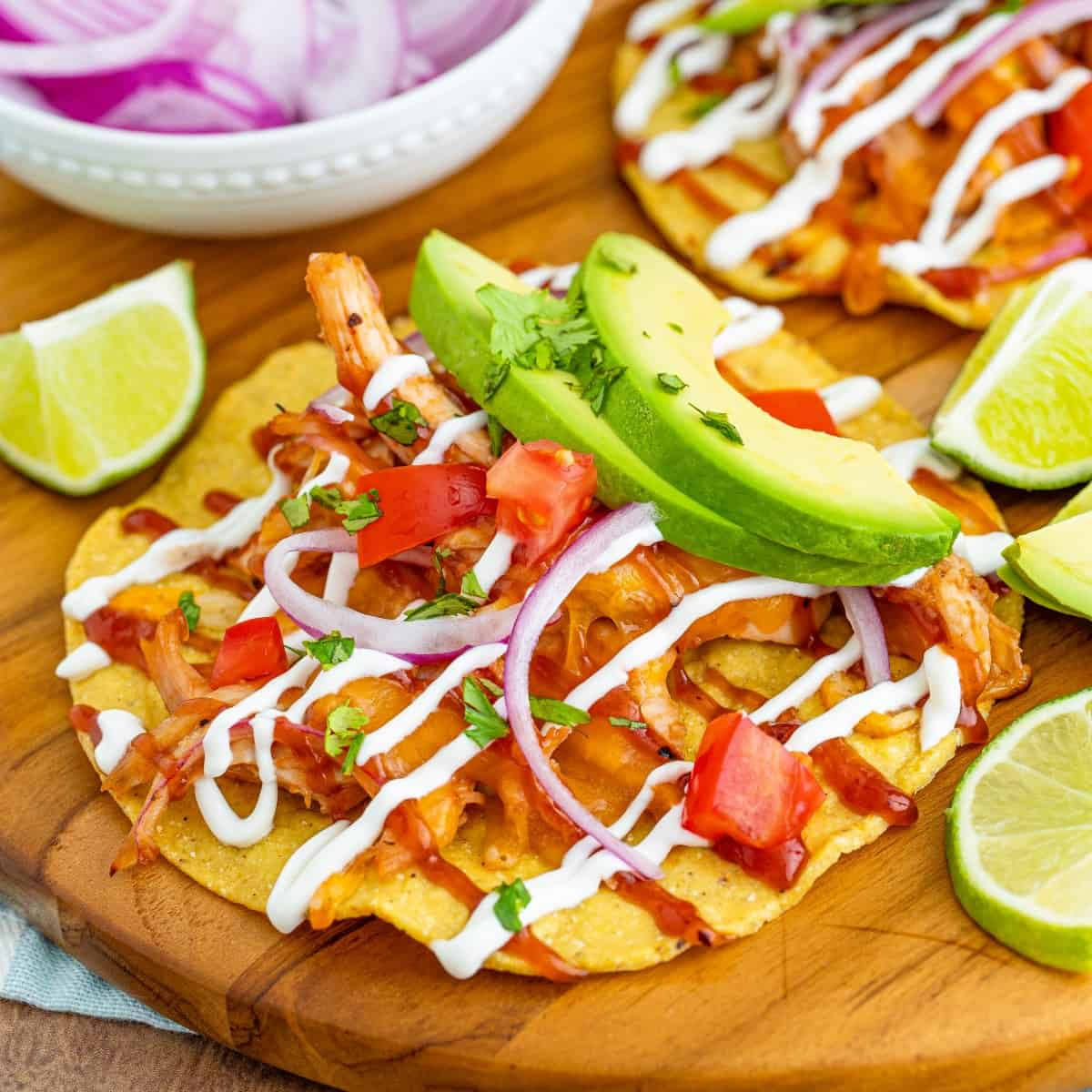 Square photo of a tostada ready to eat