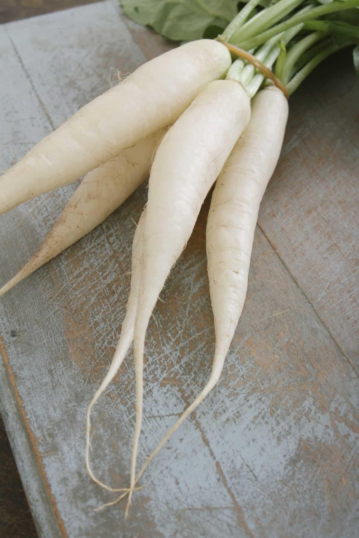 Bunch of white daikon radish