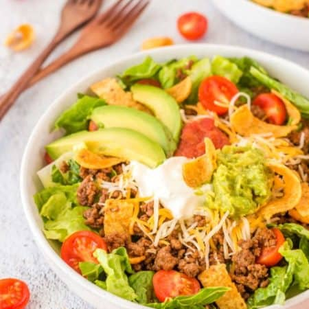 Easy Beef Taco Salad in a white bowl