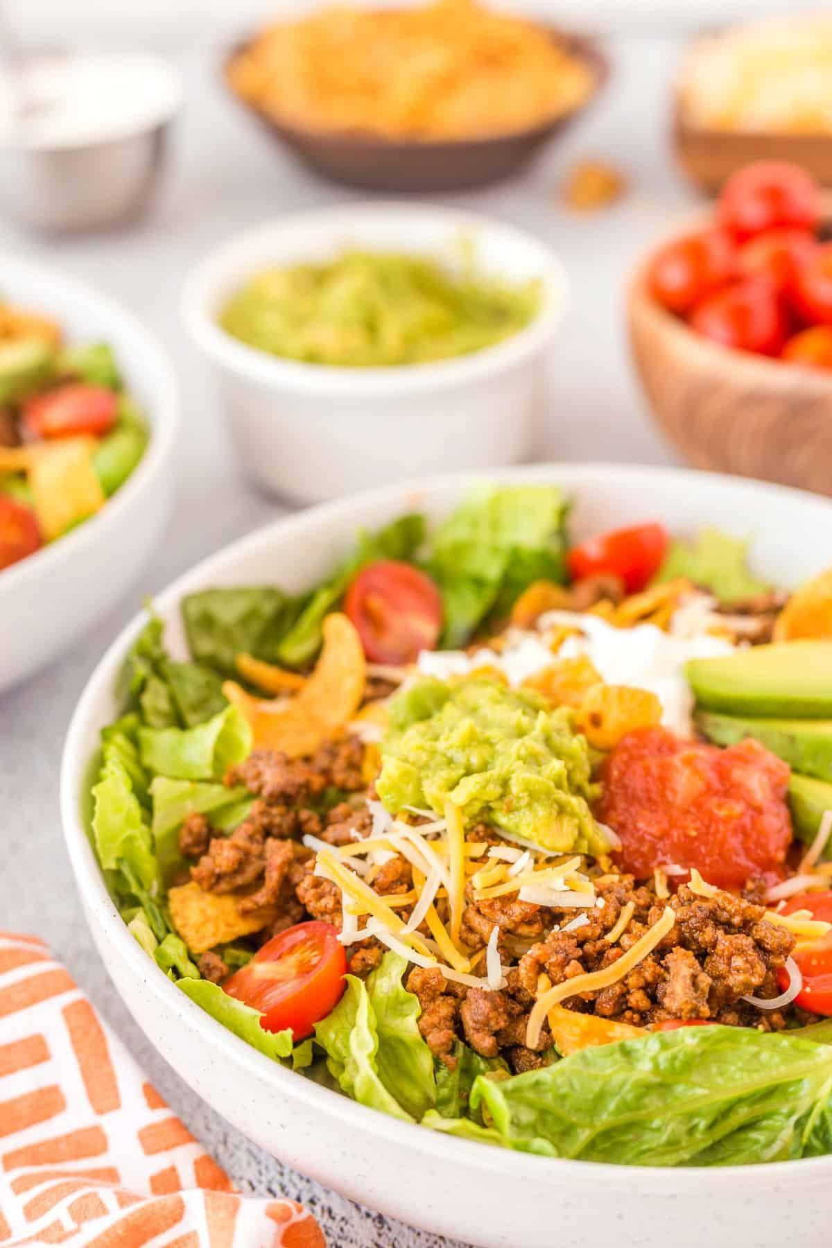 Close up of Beef Taco Salad
