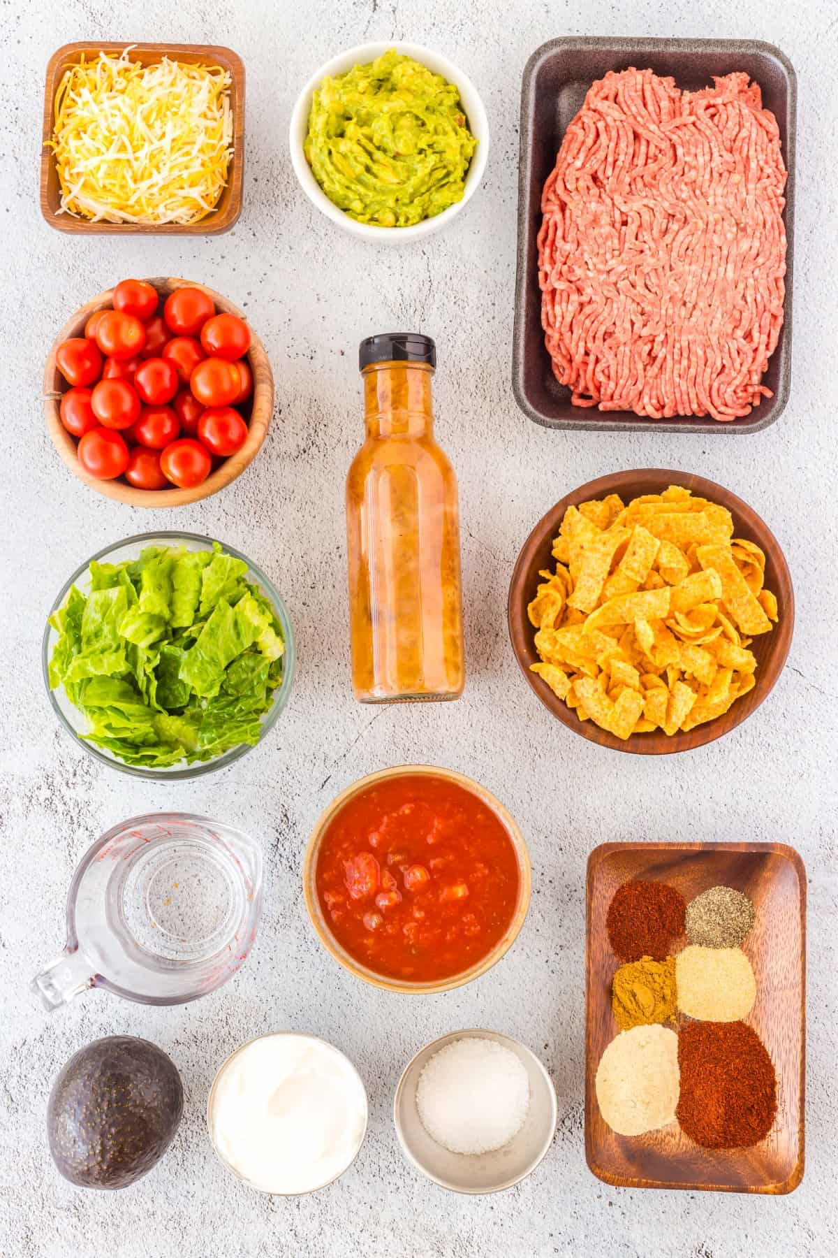 Ingredients for Easy Beef Taco Salad