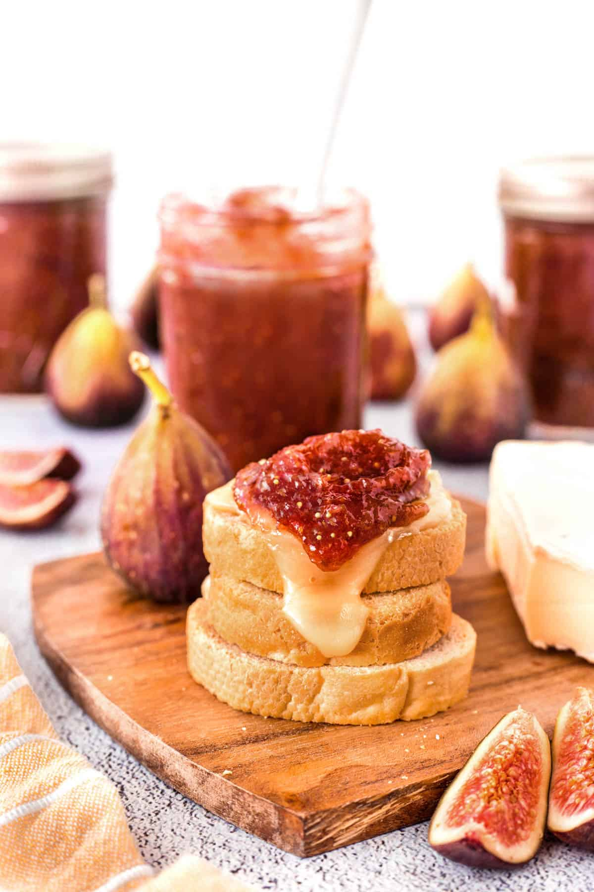Homemade Fig Jam on a melted cheese crostini
